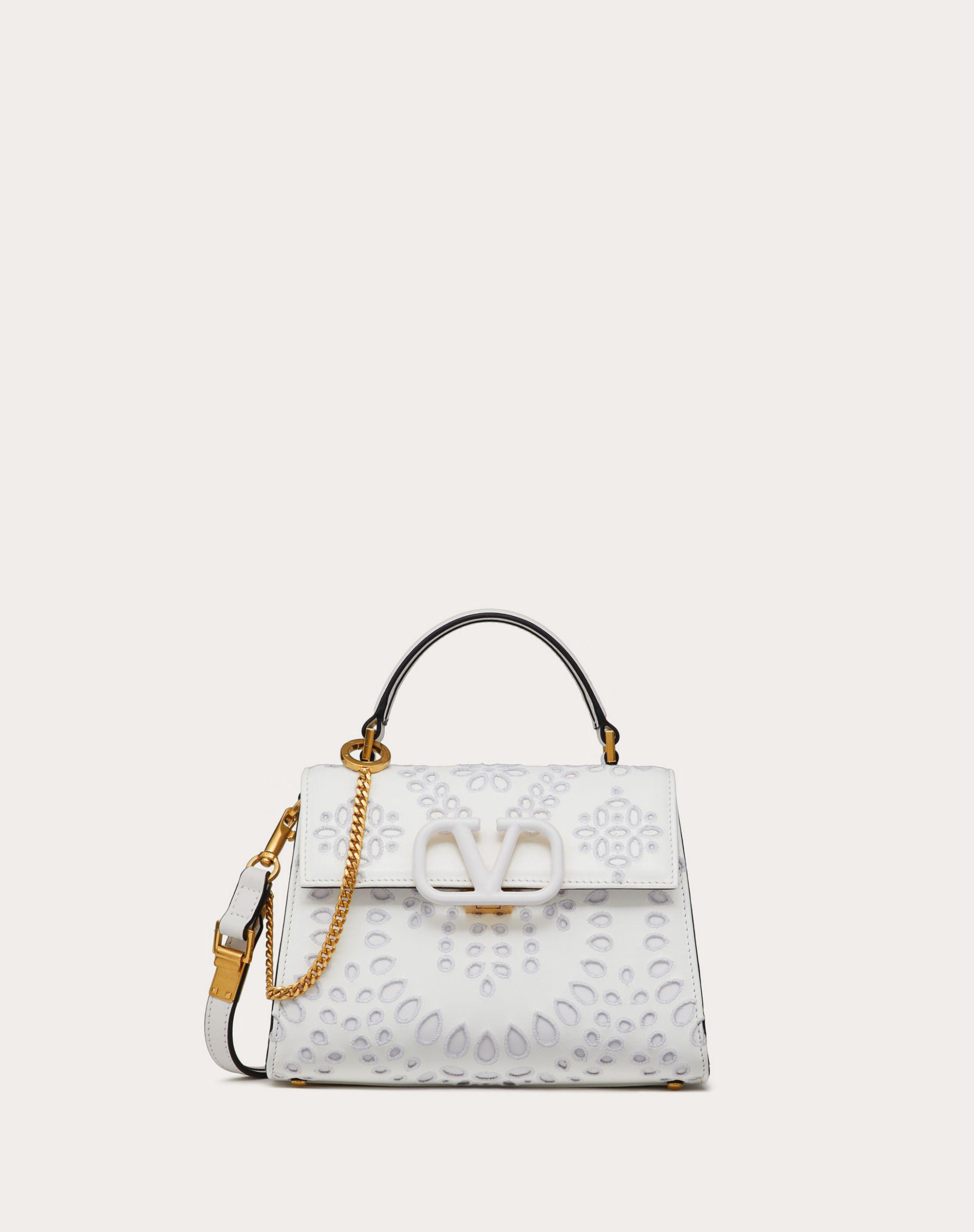 Small VSLING Handbag in Calfskin with San Gallo embroidery
