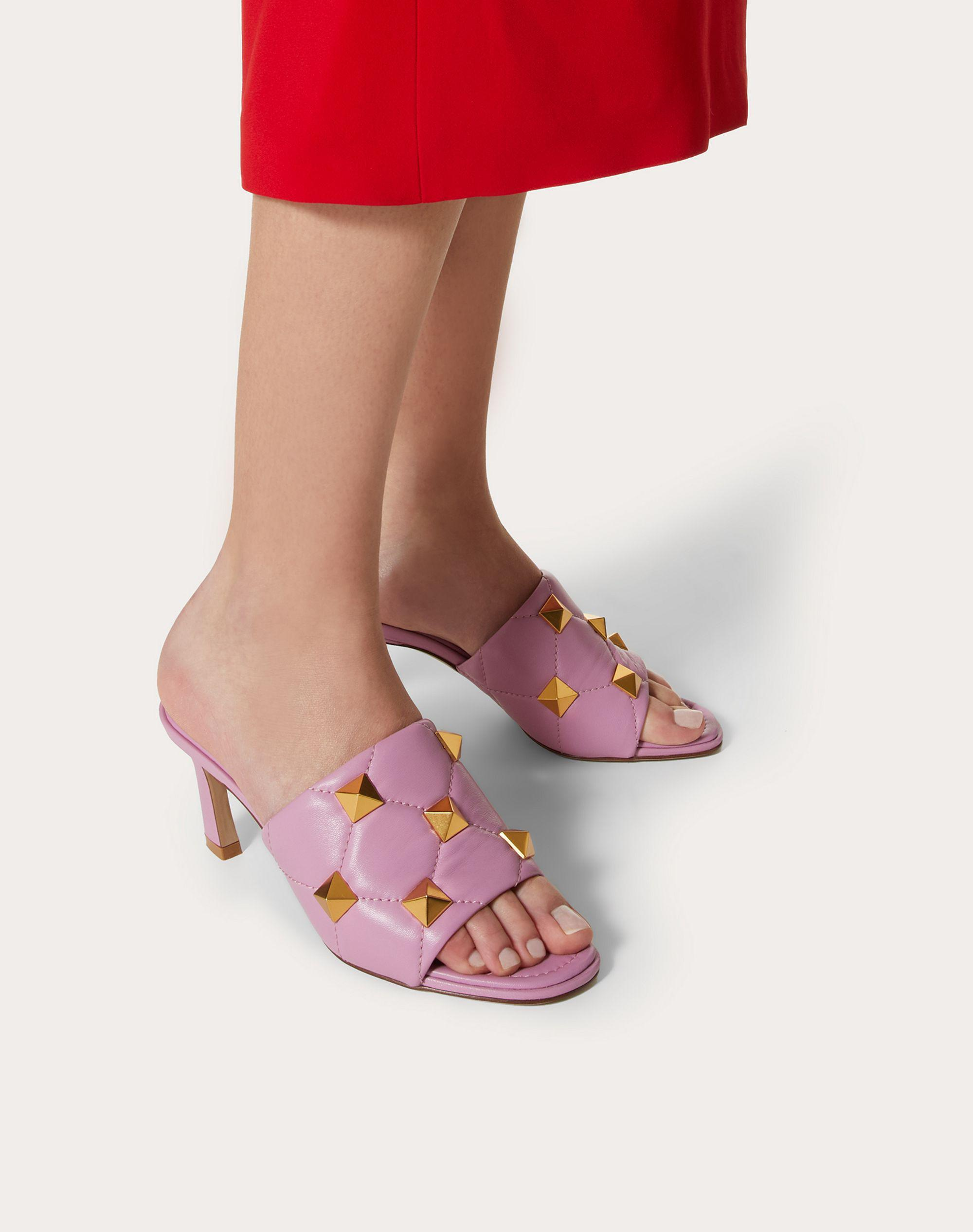 ROMAN STUD SLIDE SANDAL IN QUILTED NAPPA 65 MM 5