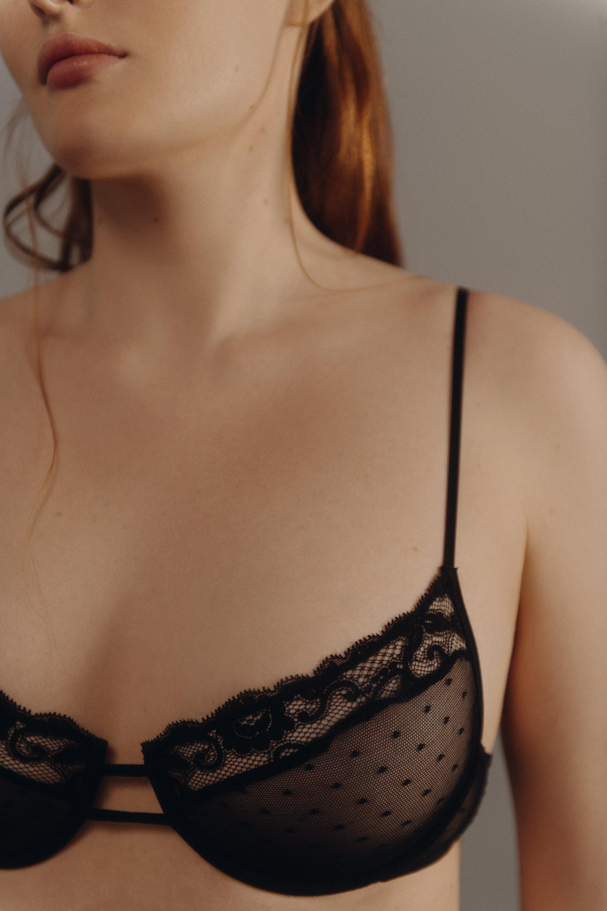 DOTTED MESH LACE BRA