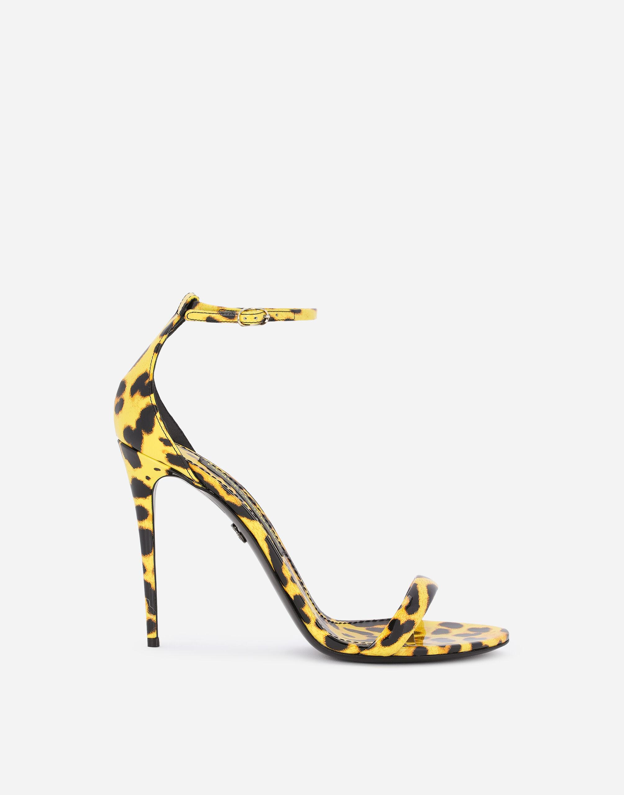 Leopard-print patent leather sandals with yellow base
