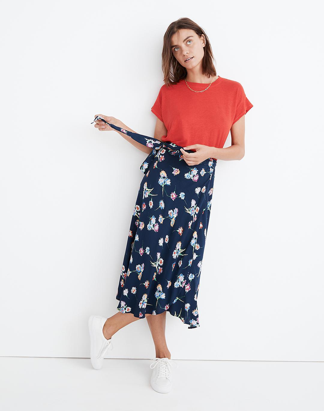 Wrap Midi Skirt in Flutter-By Floral