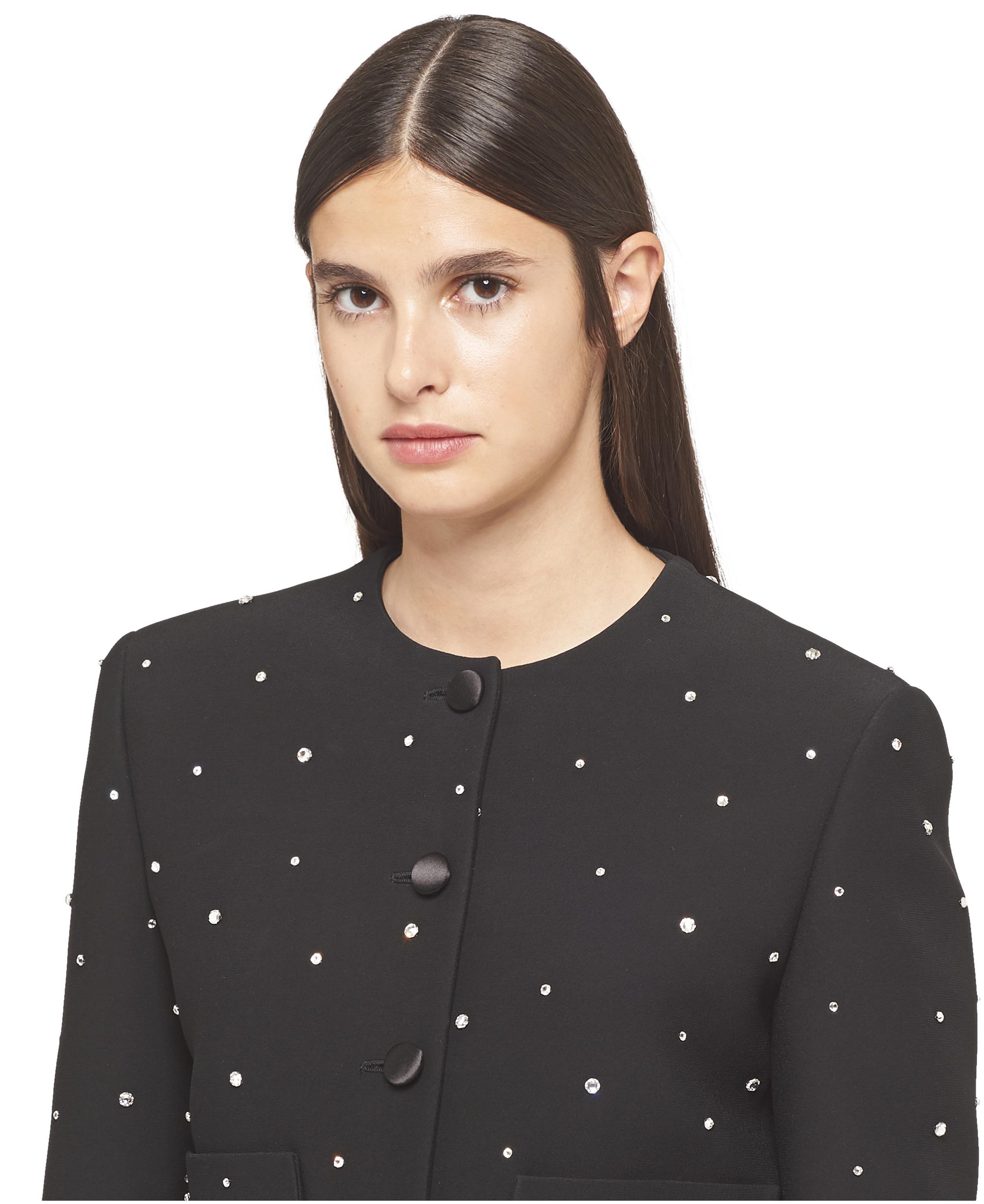 Single-breasted Embroidered Cady Jacket Women Black 4