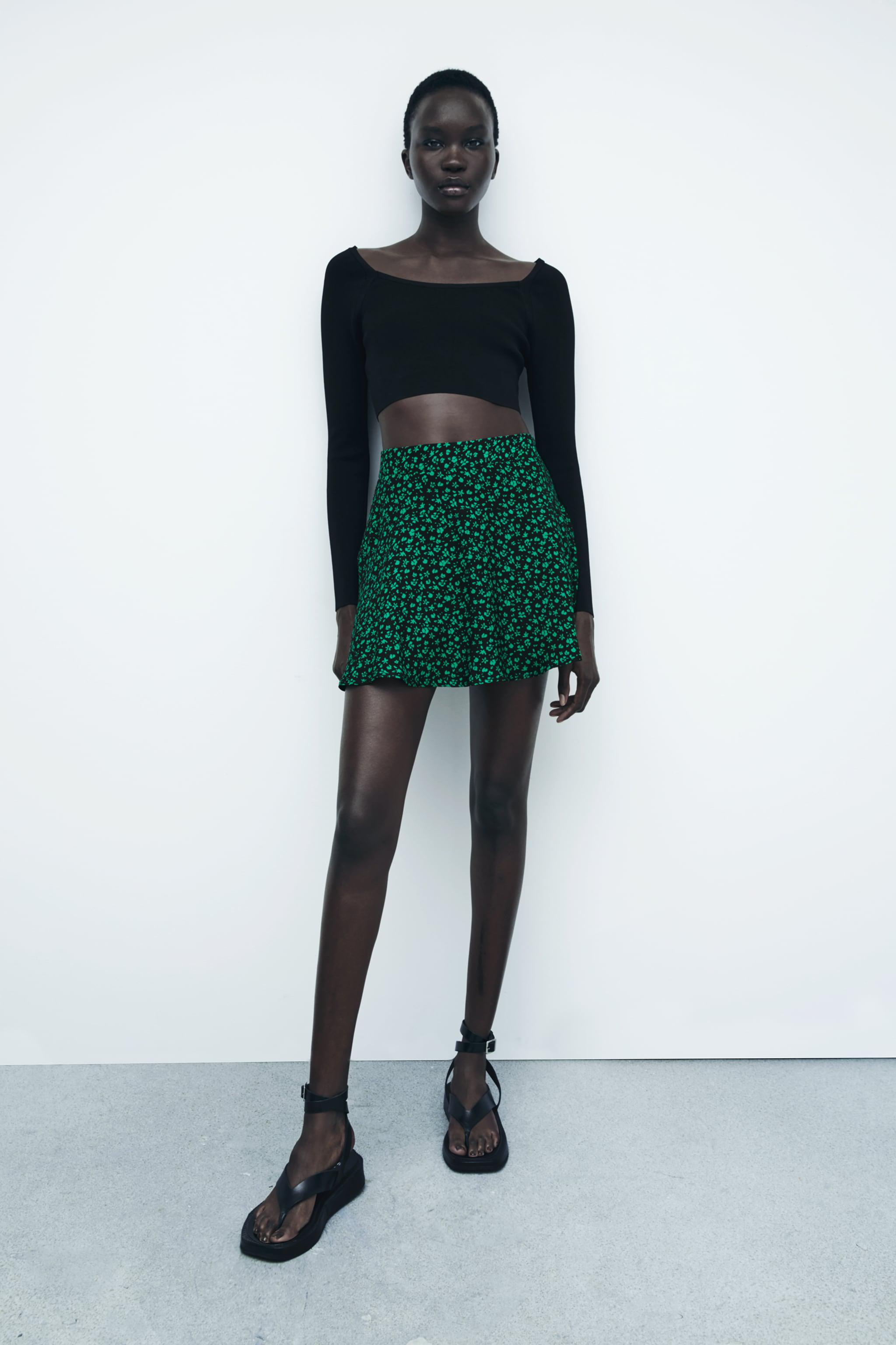 PRINT PANTS WITH SKIRT FRONT