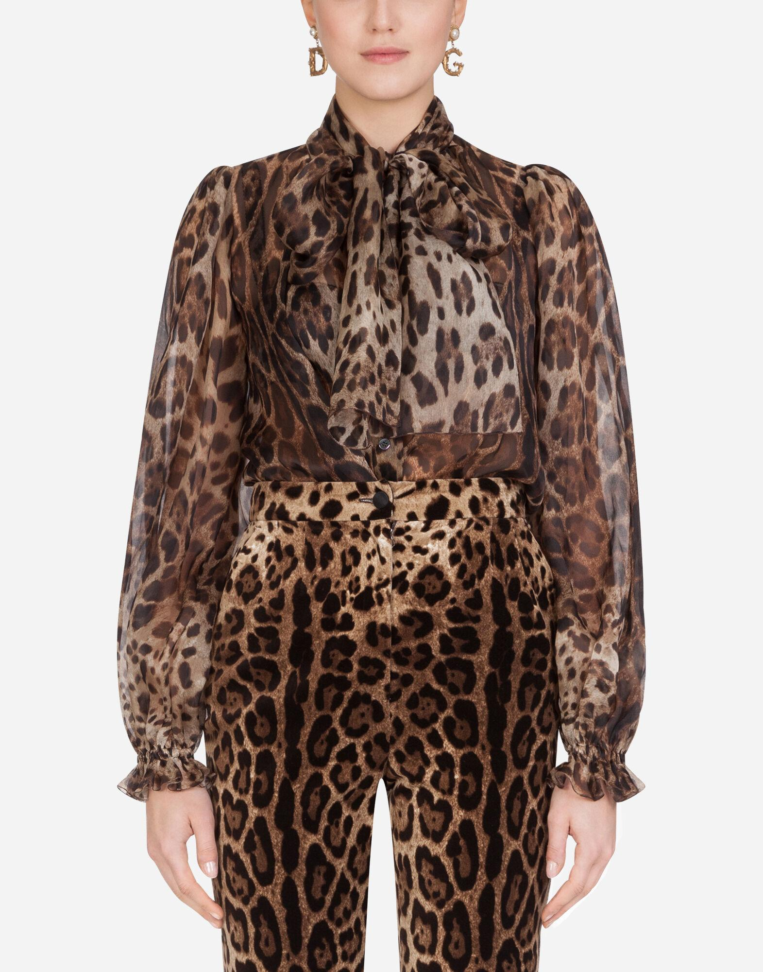 Pussy-bow organza shirt with leopard print