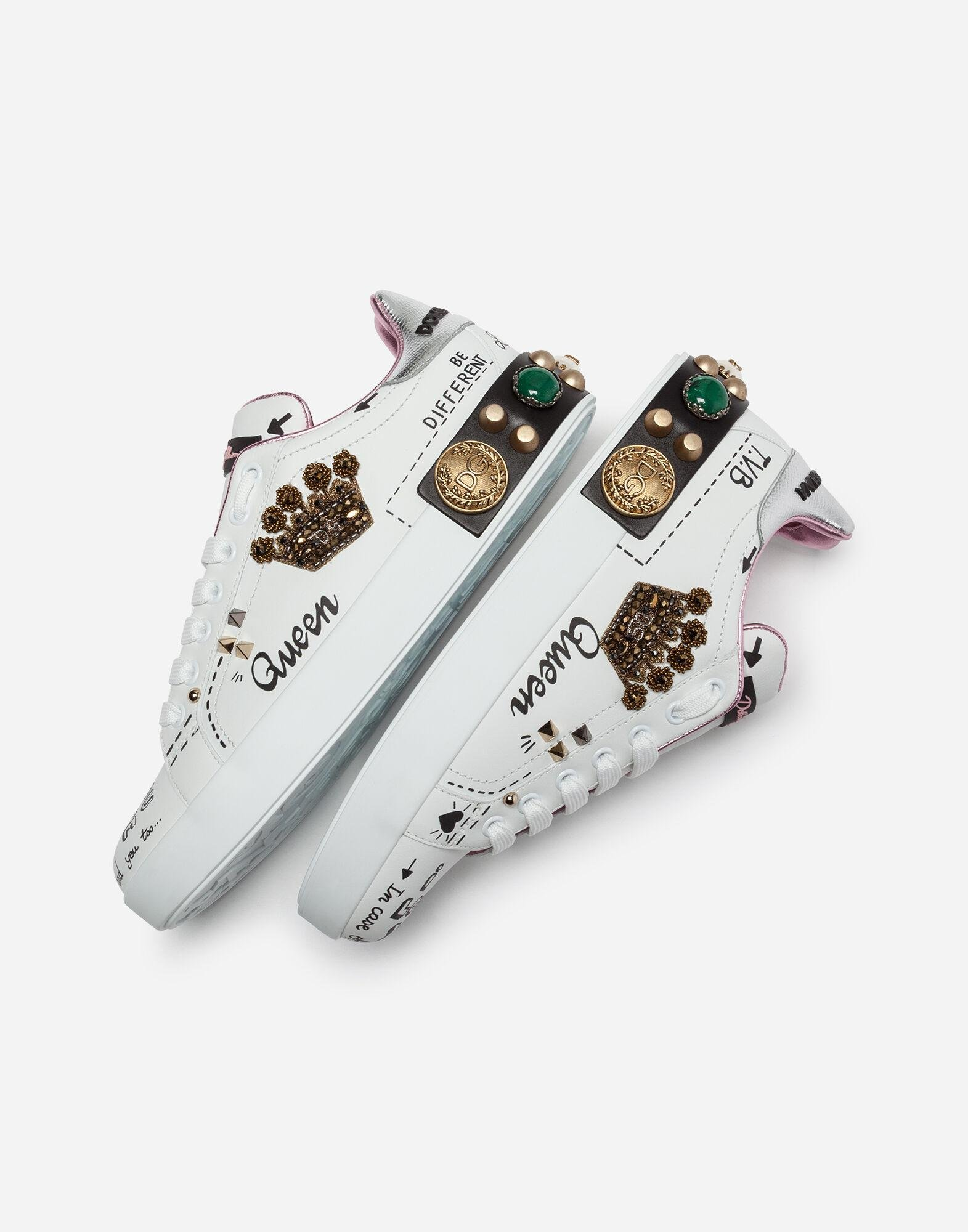 Printed calfskin Portofino sneakers with patch and embroidery 2