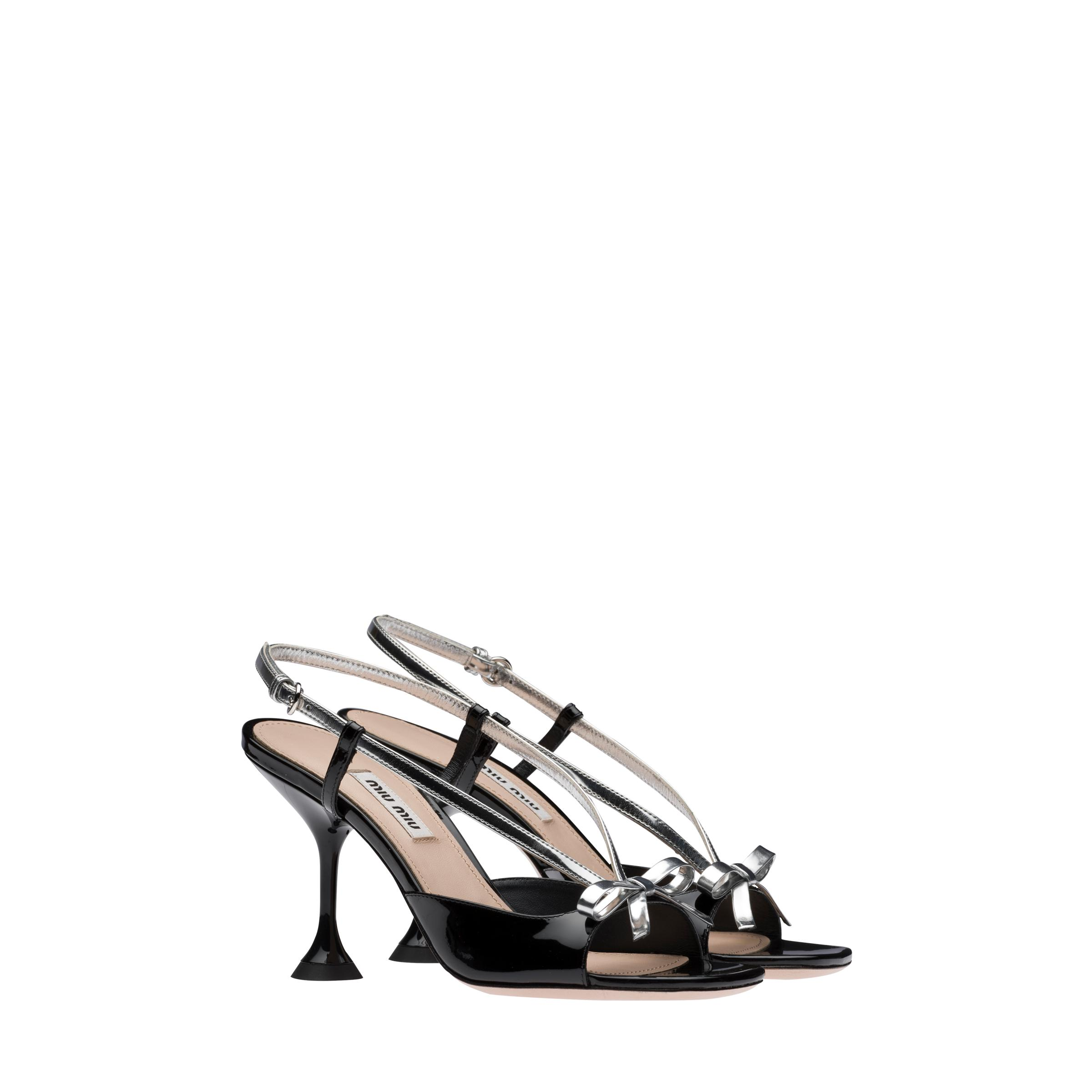 Patent Leather And Metallic Technical Fabric Sandals Women Black/silver