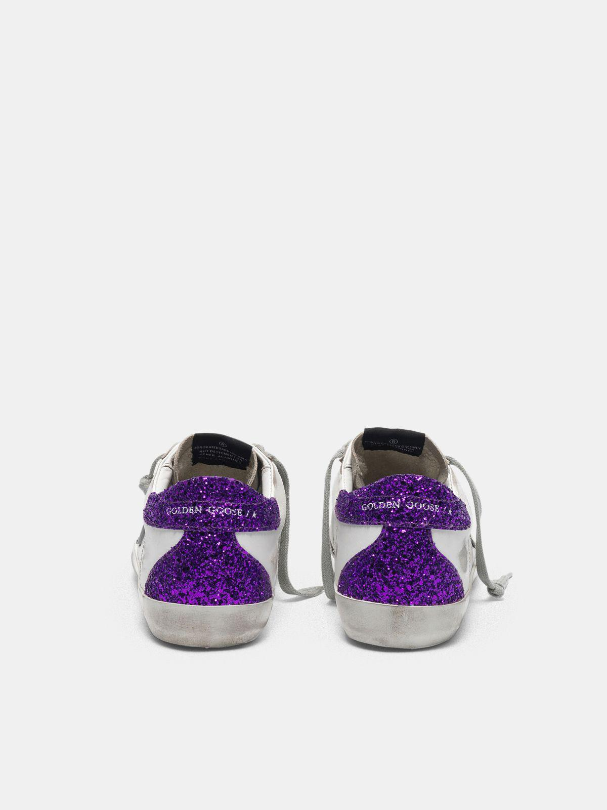 White Super-Star sneakers with glittery purple rear 1