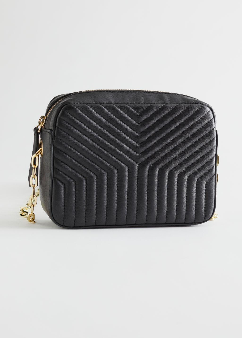 Chain Strap Embossed Leather Bag