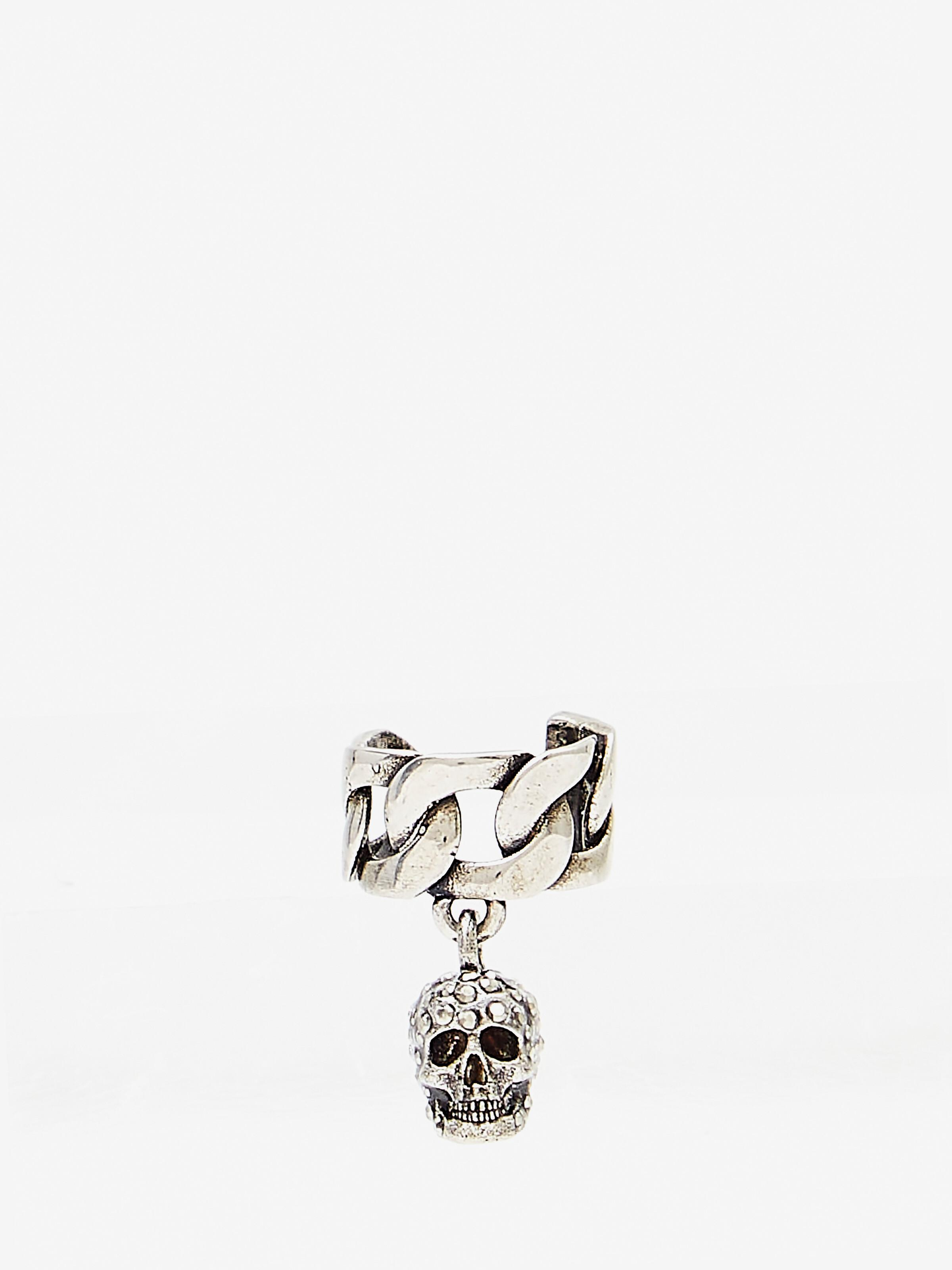 Chain Ear Cuff with Pave Skull