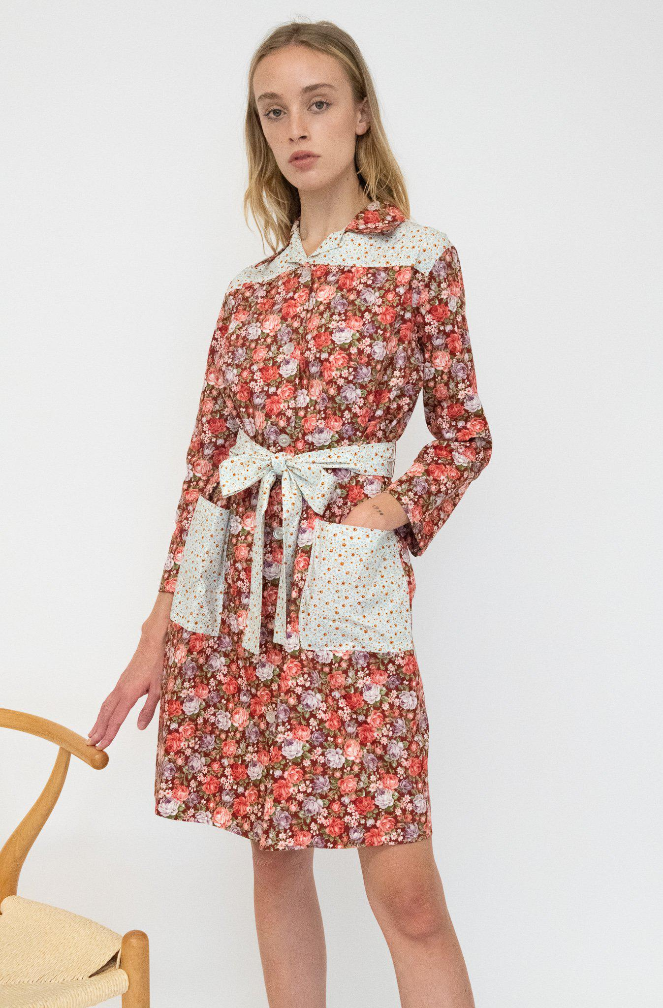 Long Sleeve Housedress in Cabernet Rose and Blue Floral