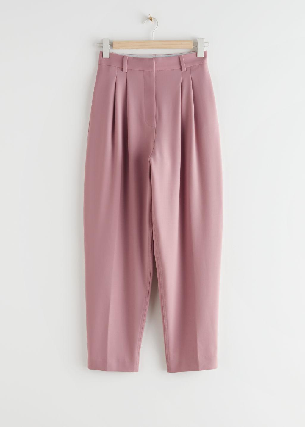Tapered Wool Blend Trousers