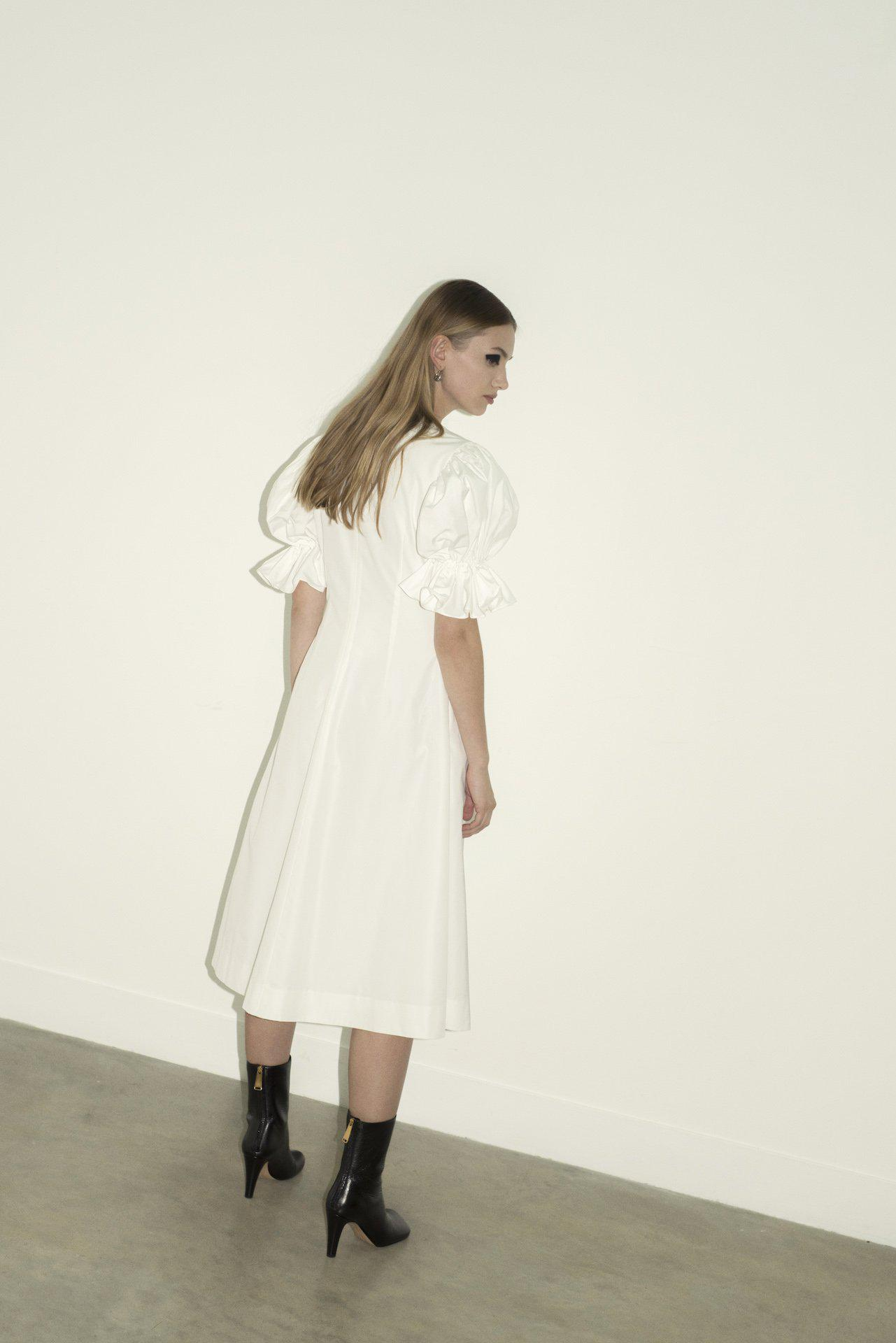 Flare Sleeve Ruched A Line Dress (Ivory) 1