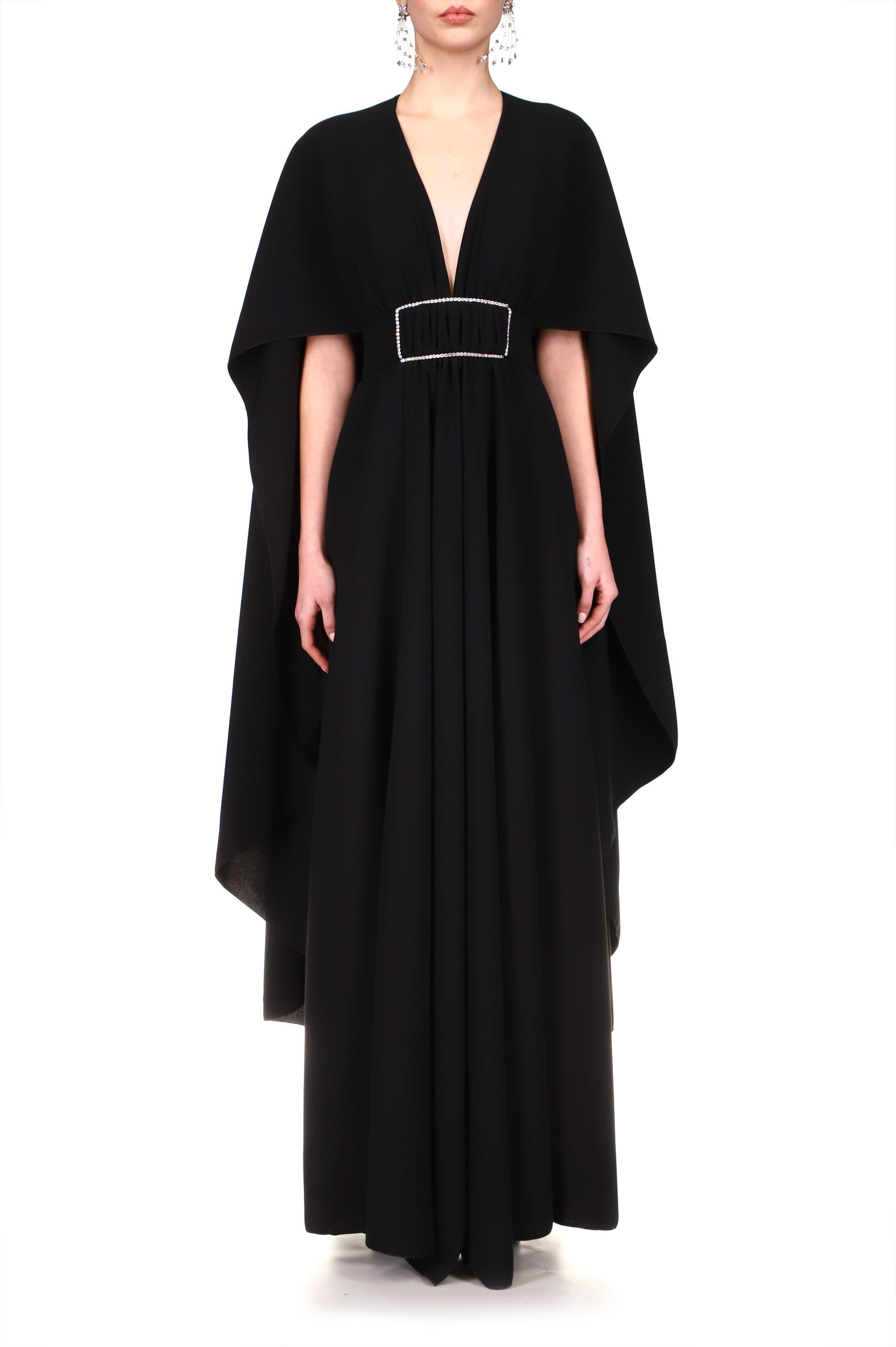 BLACK DRAPED GOWN WITH CAPE AND RHINESTONE DETAIL