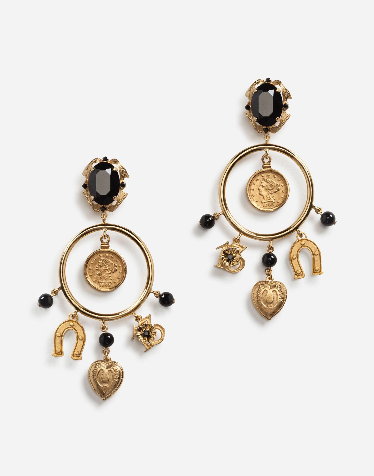 Drop earrings with decorative signature details