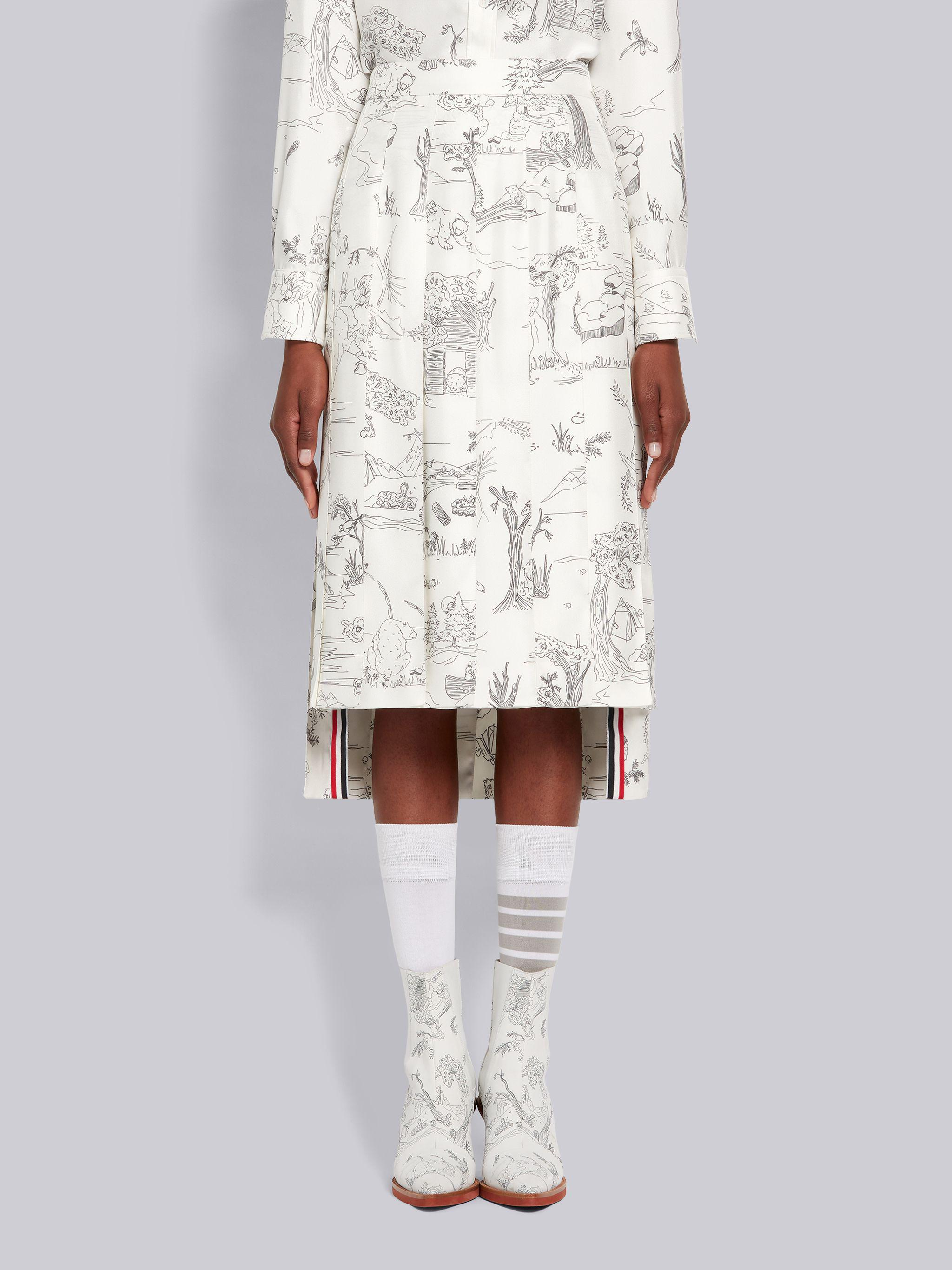 White Silk Twill Animal Camp Toile Dropped Back Pleated Below-the-Knee Skirt