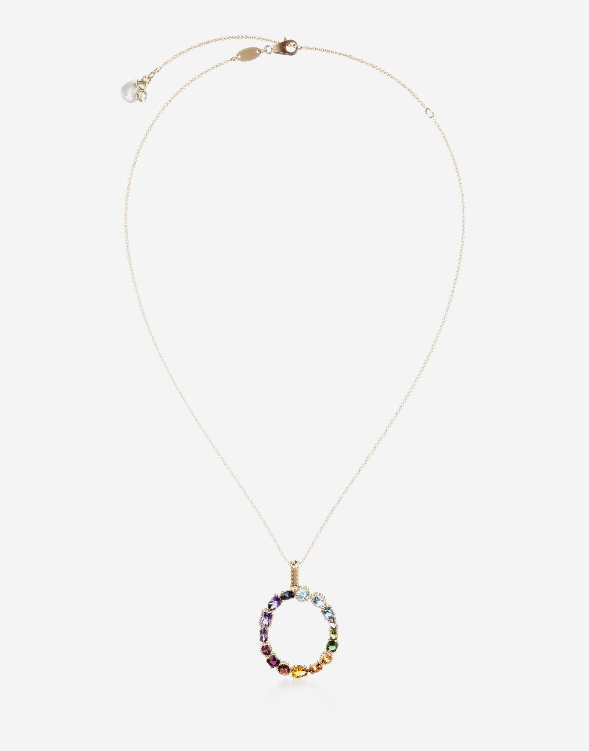 Rainbow alphabet O pendant in yellow gold with multicolor fine gems