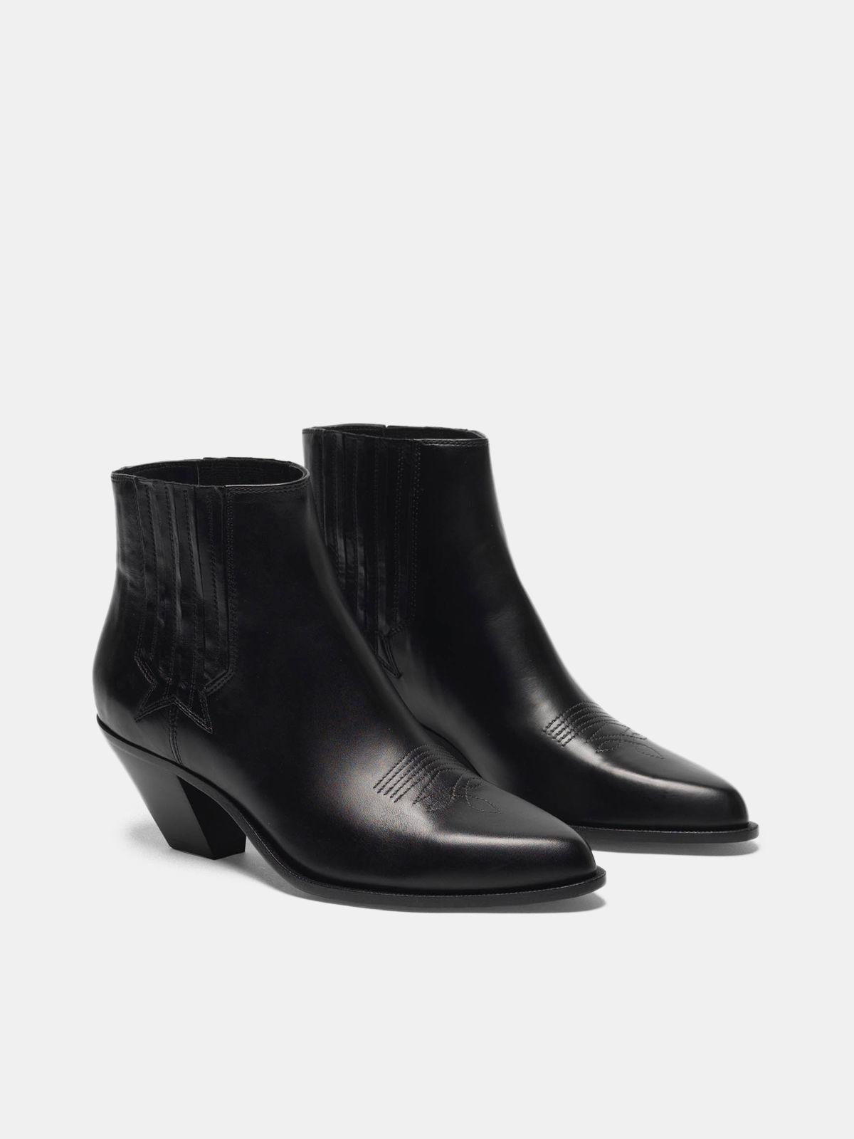 Sunset ankle boots in black leather 2
