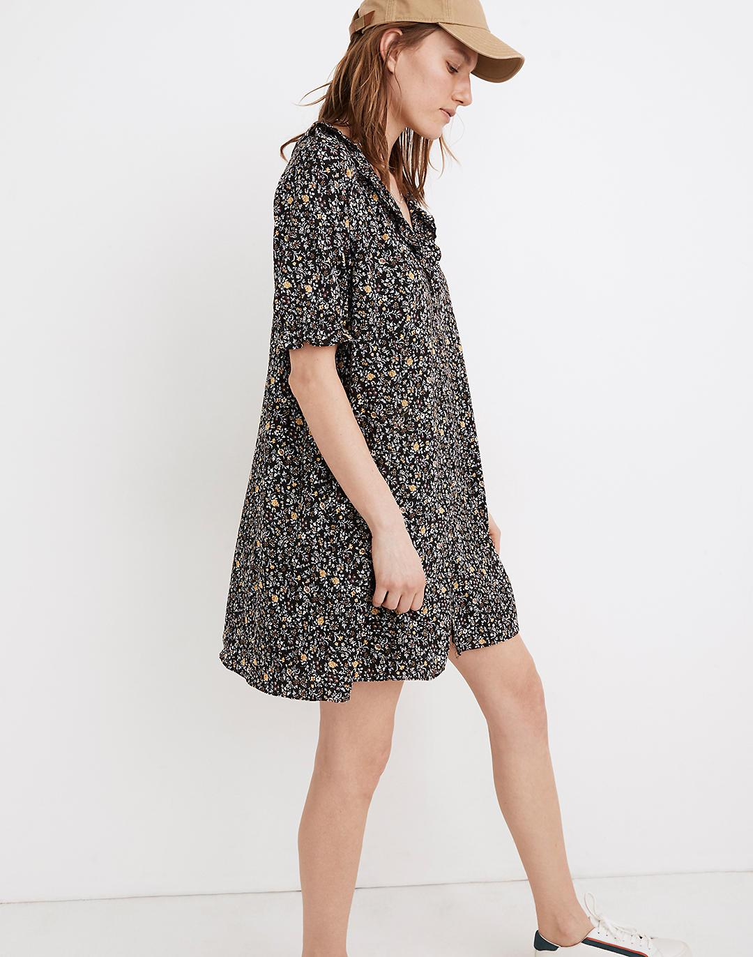 Ruffle Button-Front Trapeze Dress in Folkmagic Floral 1