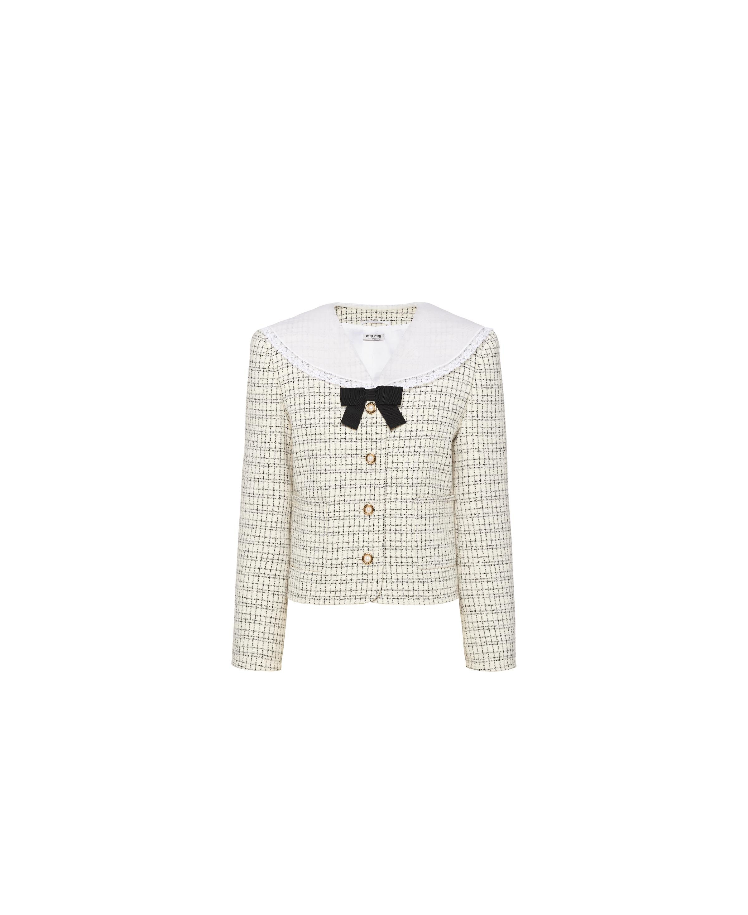 Single-breasted Checked Jacket Women Ivory