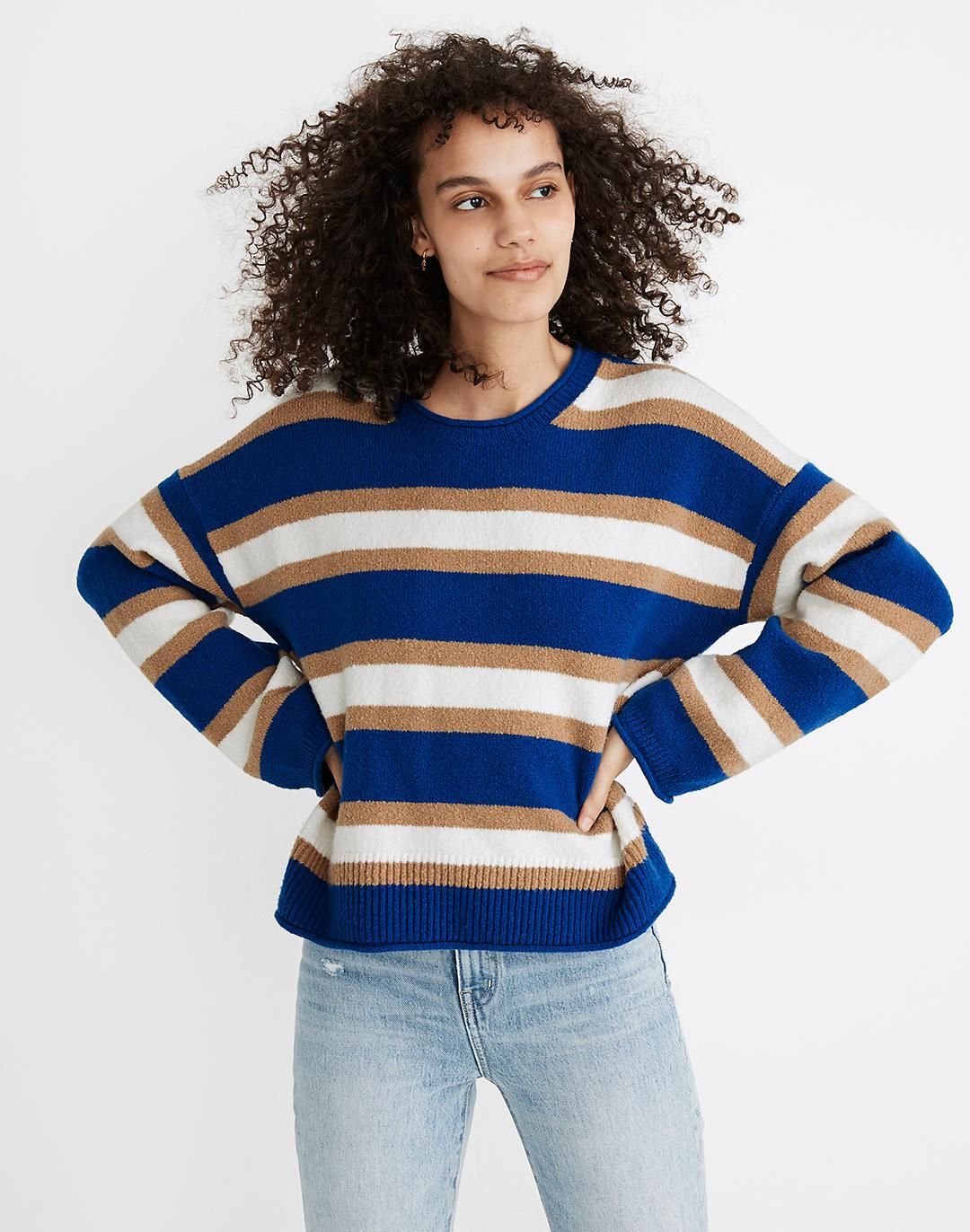 Striped Belmore Pullover Sweater in Coziest Textured Yarn