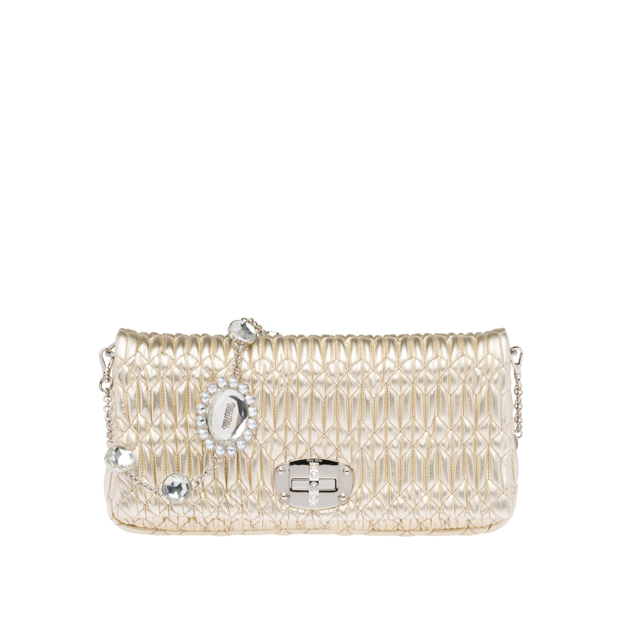 Iconic Crystal Cloqué Nappa Leather Bag Women Pyrite