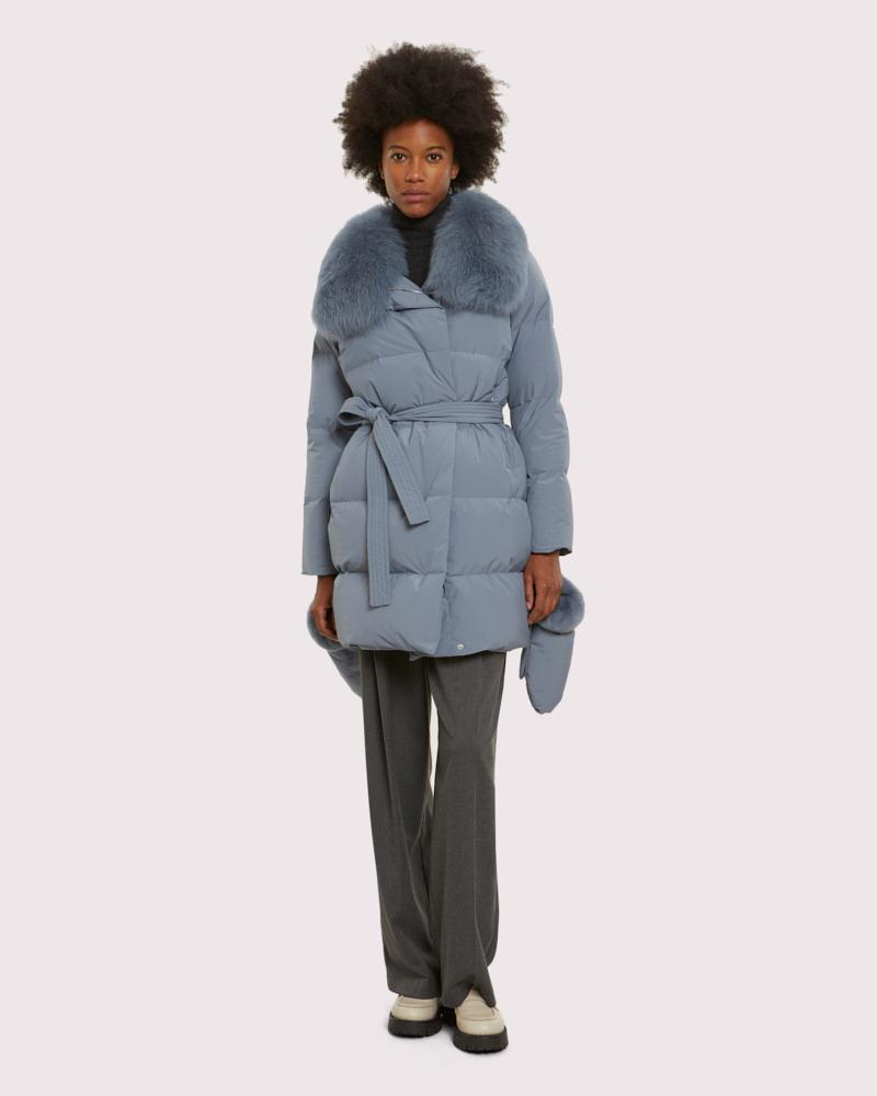 Blue belted down jacket with fox collar