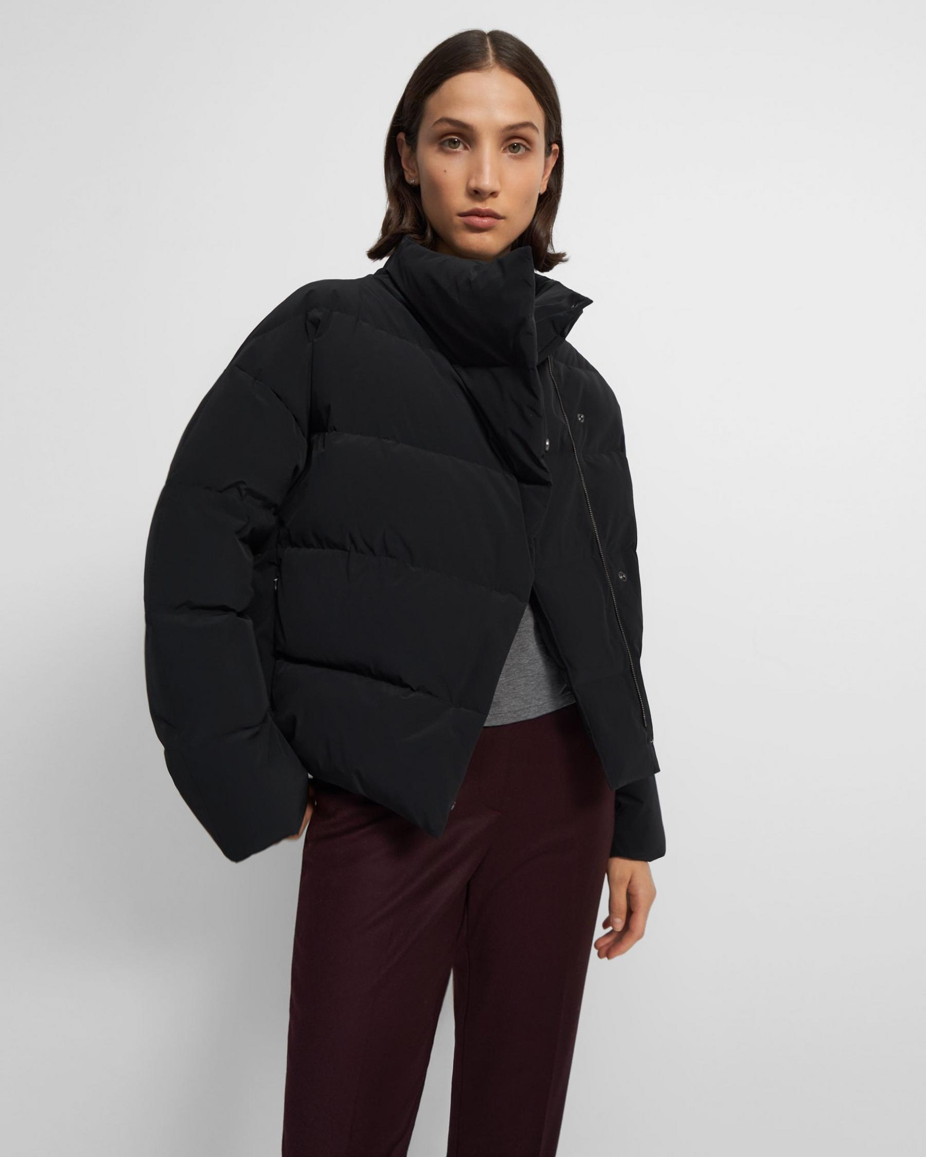 Offset Puffer Jacket in Paper Nylon