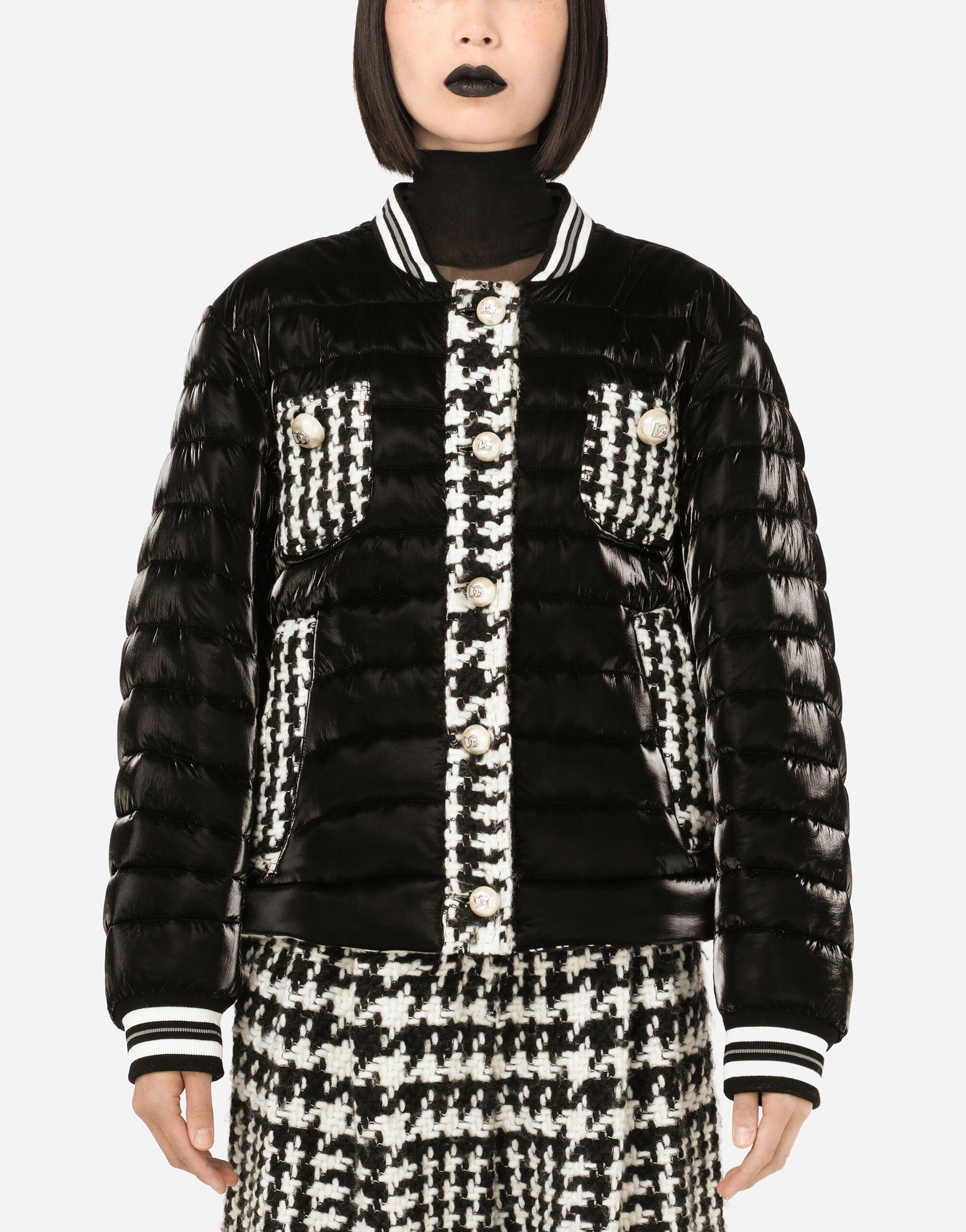 Quilted jacket with houndstooth details