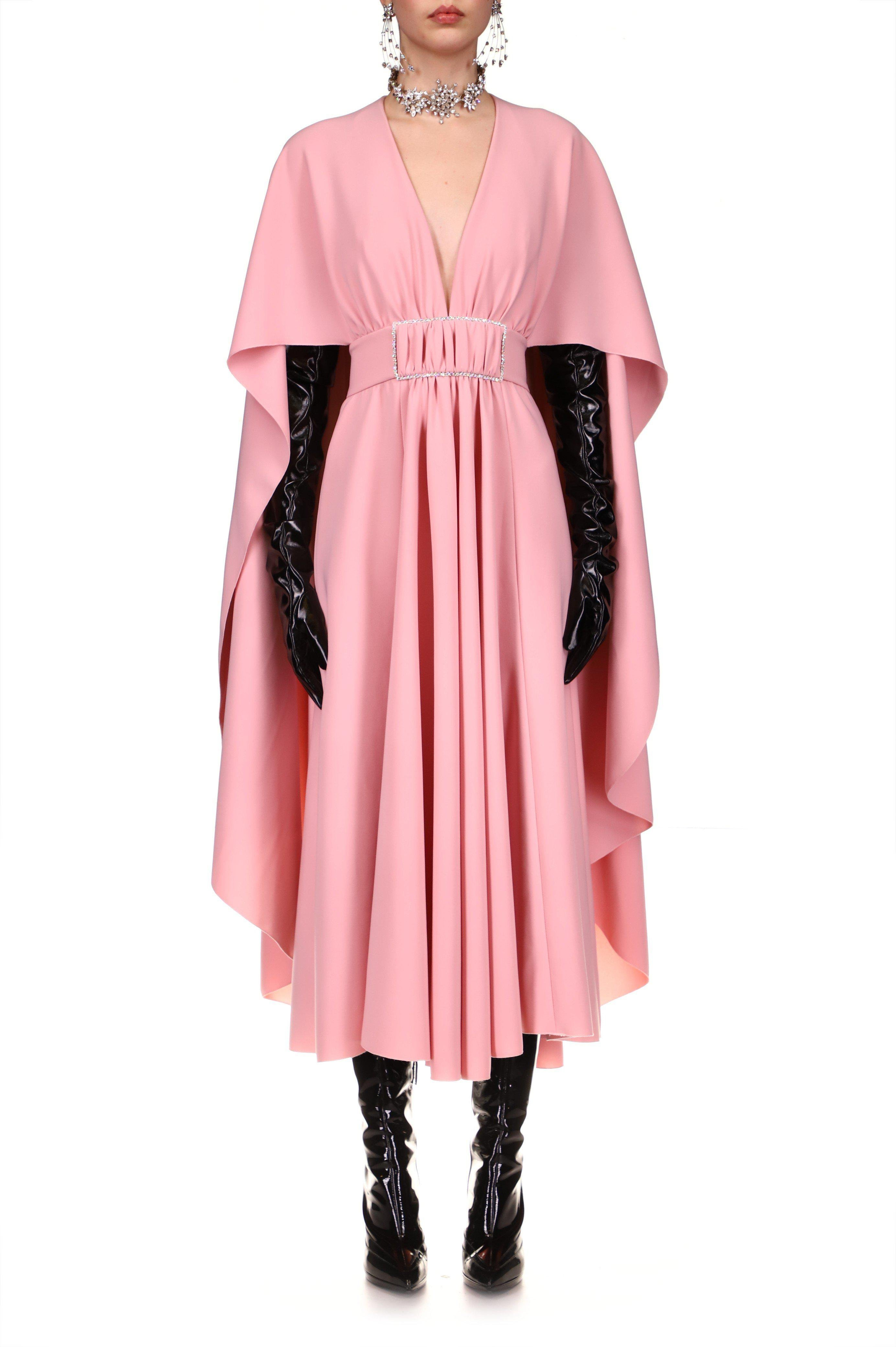 PINK DRAPED DRESS WITH CAPE AND RHINESTONE DETAIL