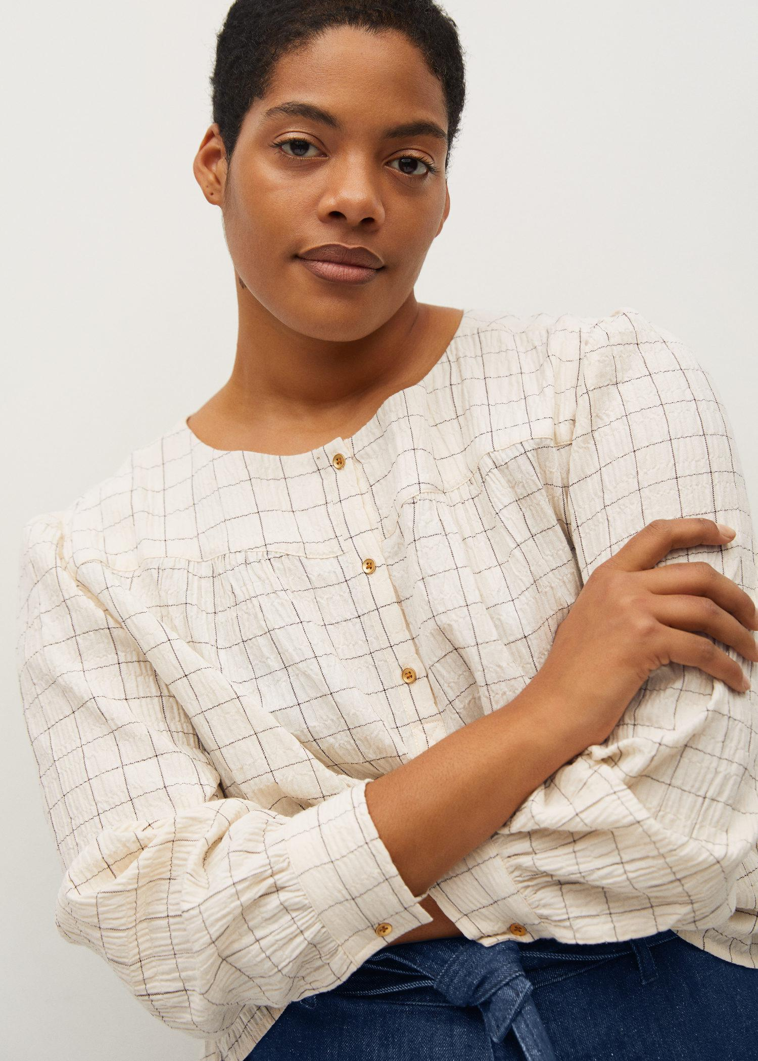 Textured check blouse 3