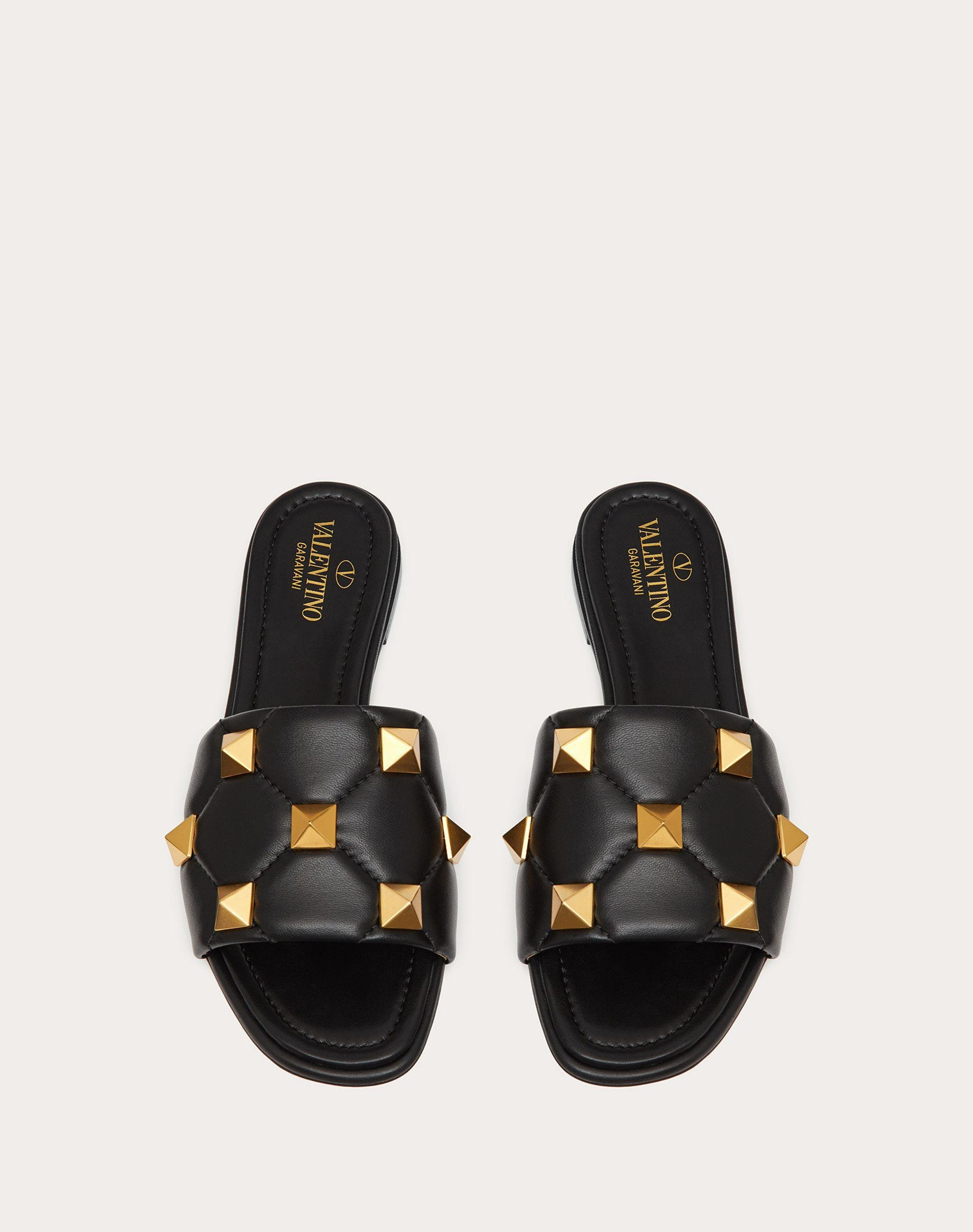 ROMAN STUD FLAT SLIDE SANDAL IN QUILTED NAPPA 3