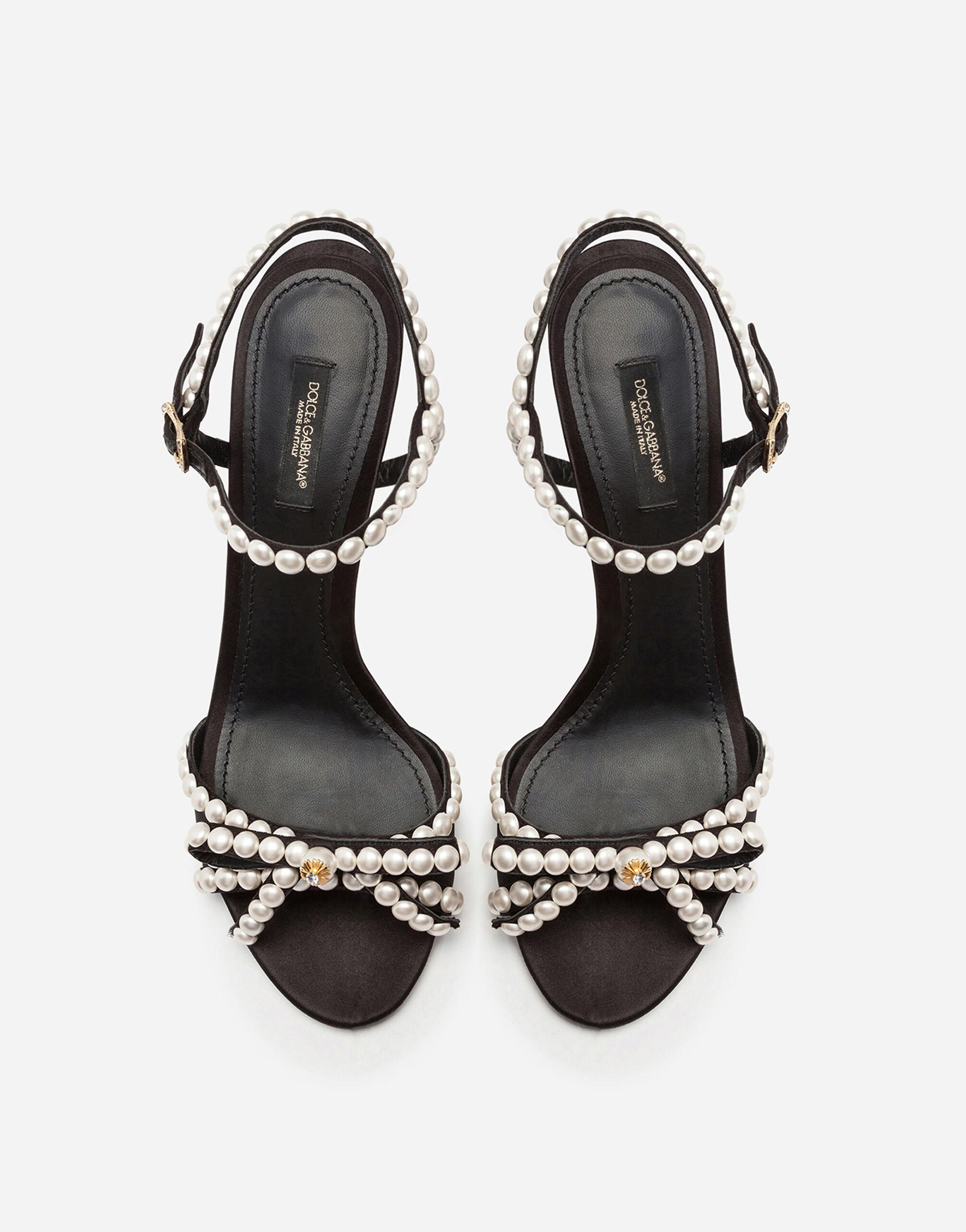 Satin sandals with pearl application 3