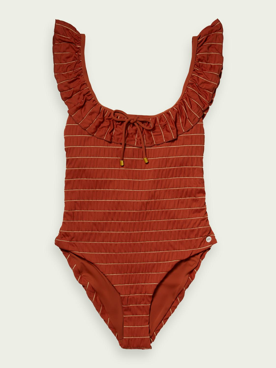 Striped recycled Nylon-blend swimsuit
