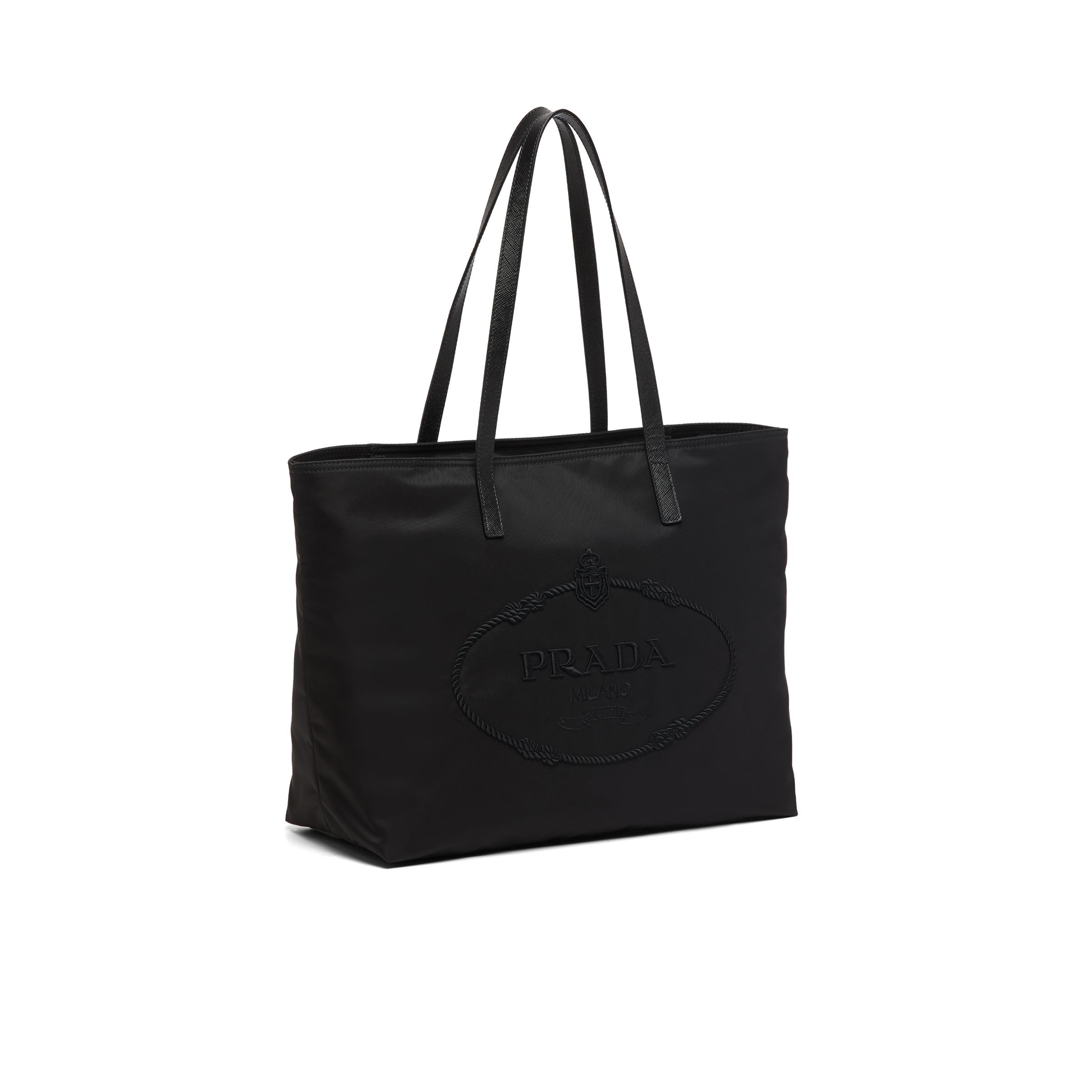 Nylon Tote With Embroidered Logo Women Black 2