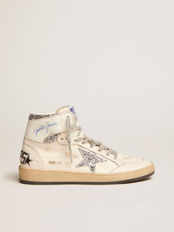 Sky-Star sneakers with signature on the ankle and silver glitter inserts