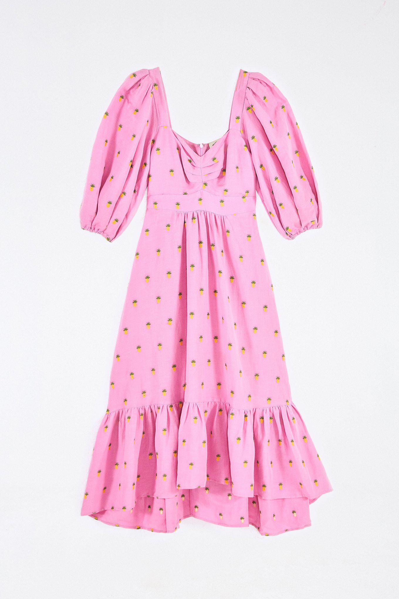 EMBROIDERED PINEAPPLES PINK MIDI DRESS 5