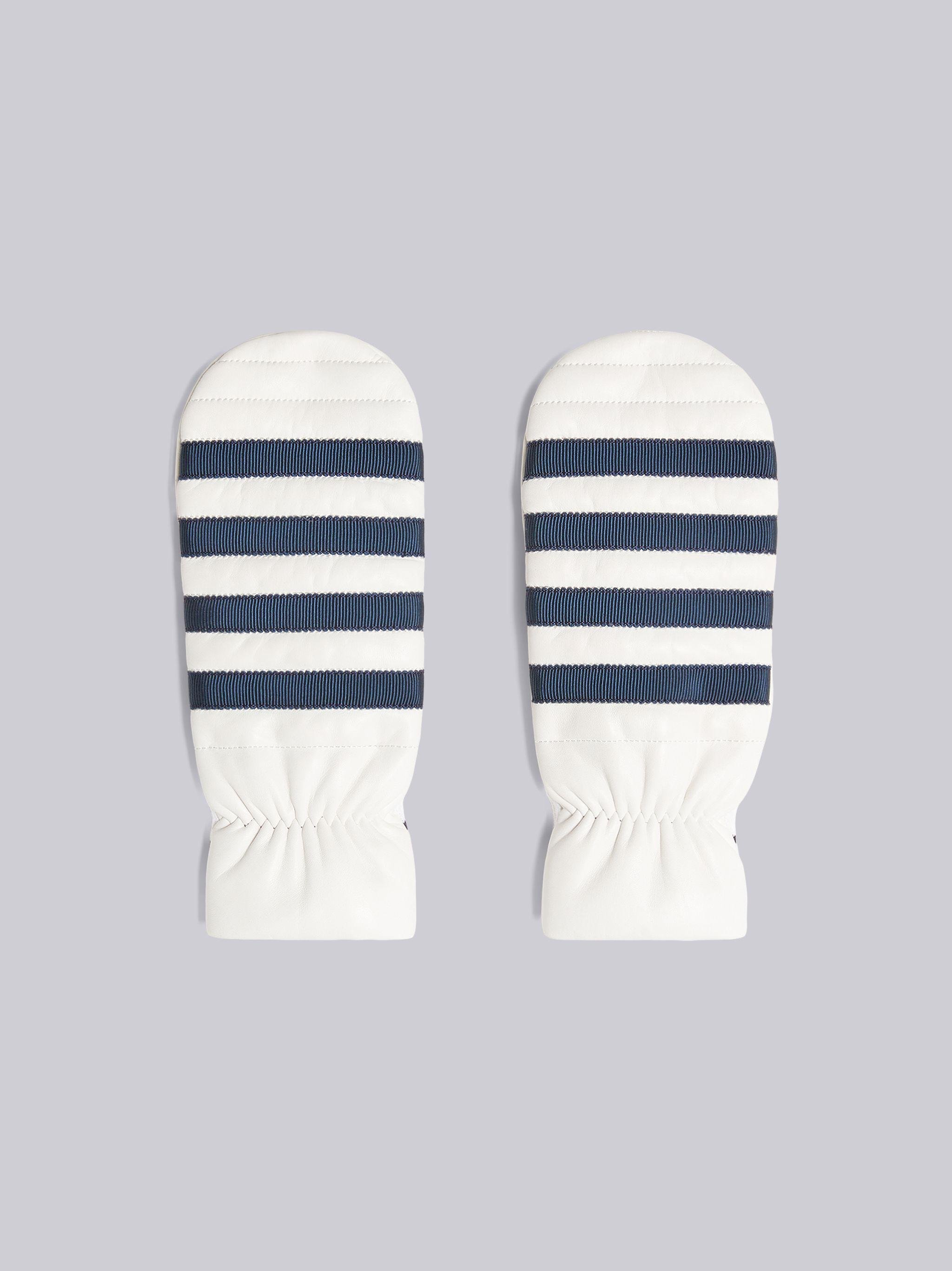 White Nappa Leather 4-Bar Mittens