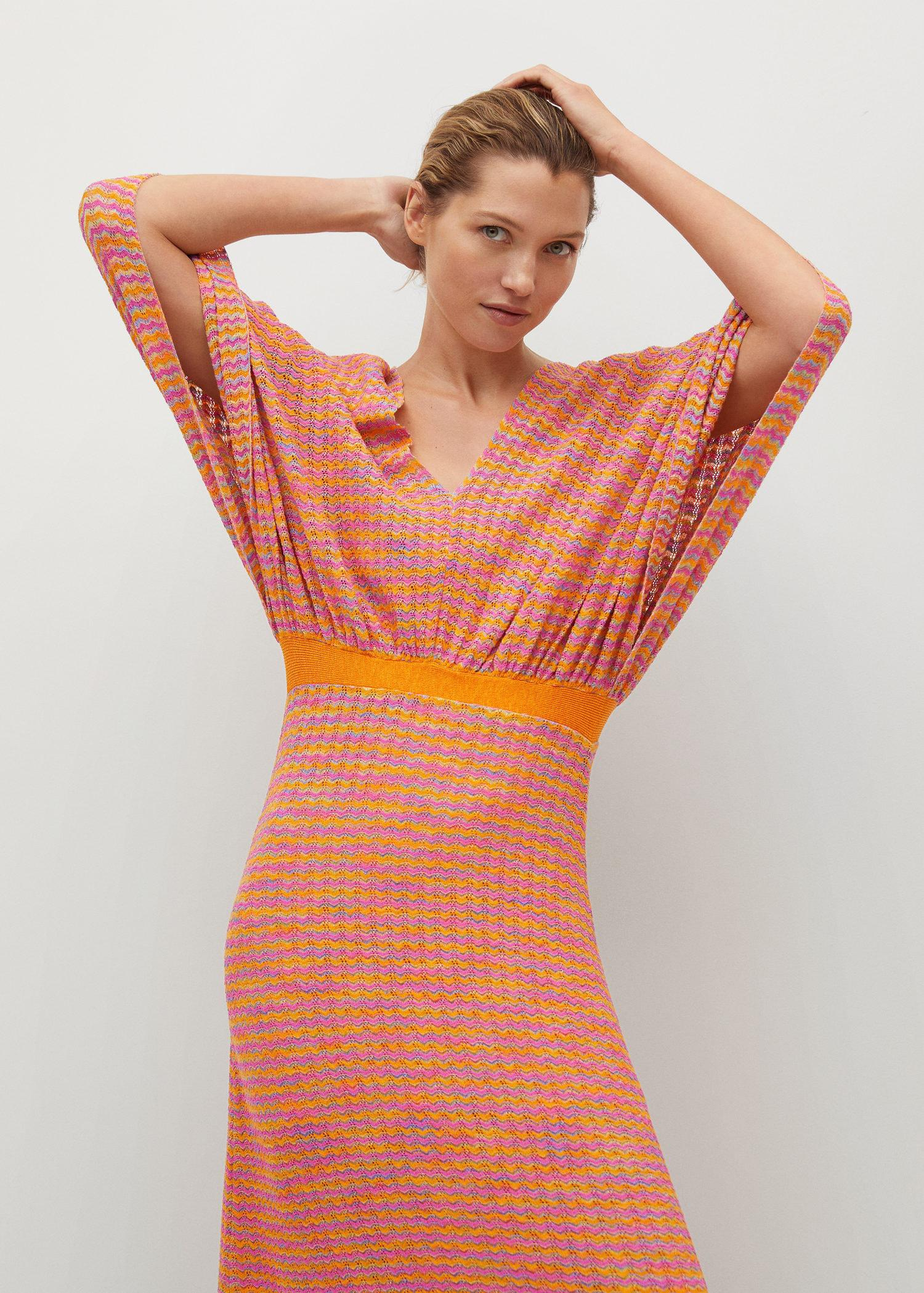 Combined knitted dress with slit 0
