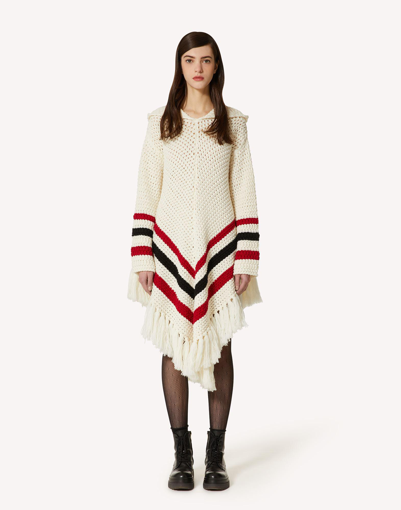 WOOL PONCHO WITH STRIPED PATTERN