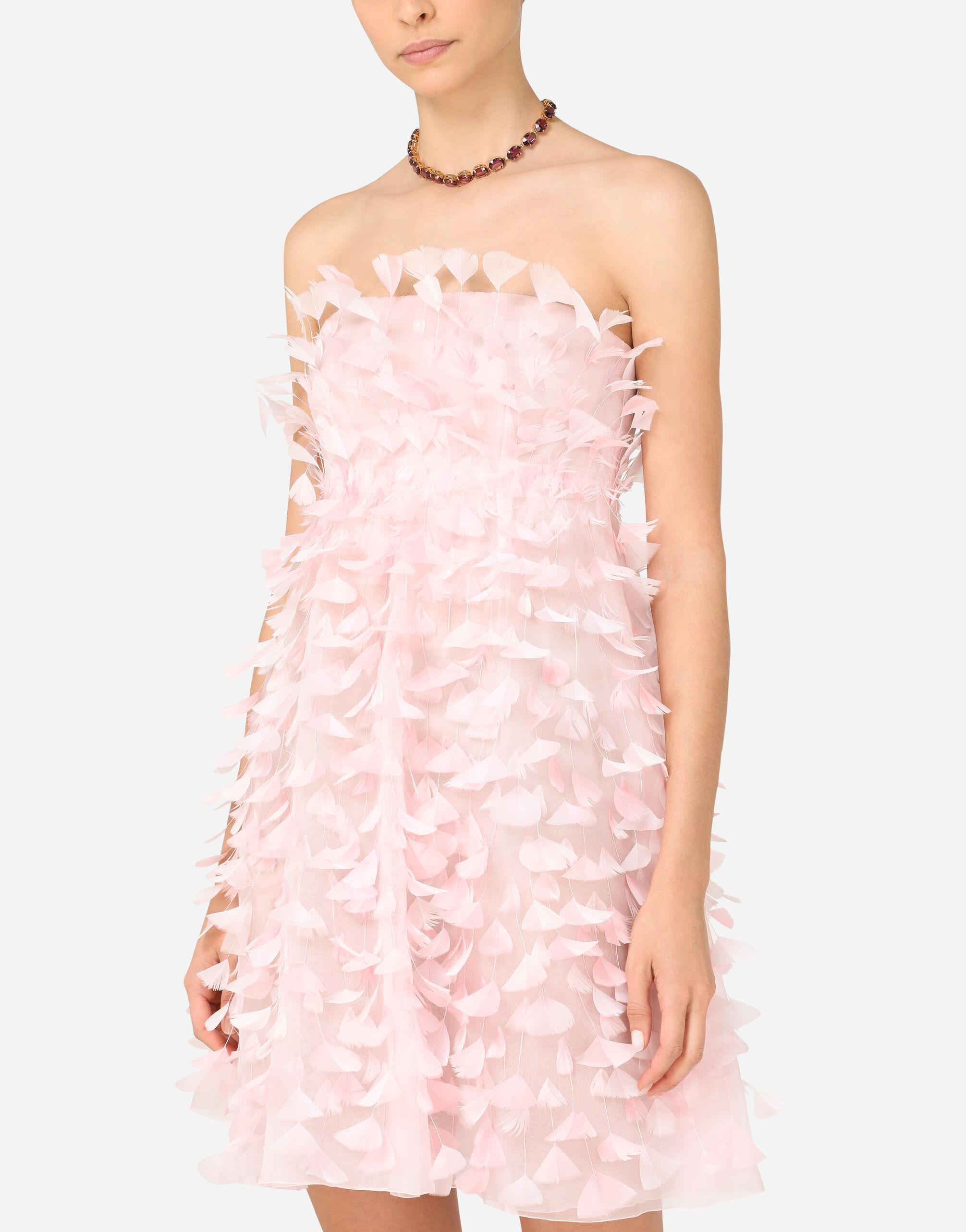Short organza dress with feather embellishment 2
