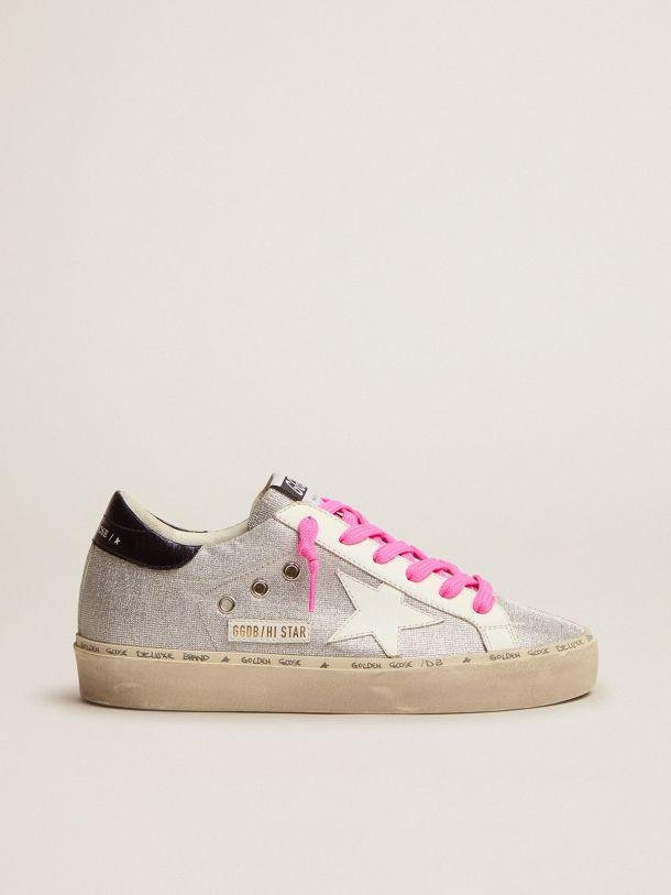 Hi Star sneakers in silver glitter with checkered pattern and white leather star
