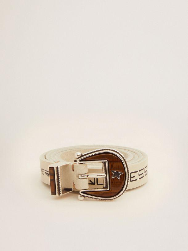 Rodeo belt in white leather with contrasting handwritten lettering
