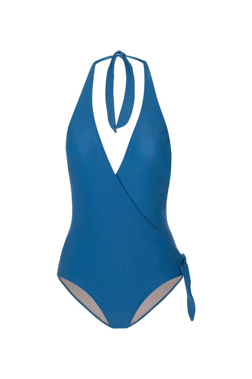 Conchiglie Cross-Front Halterneck Swimsuit with Knot 3
