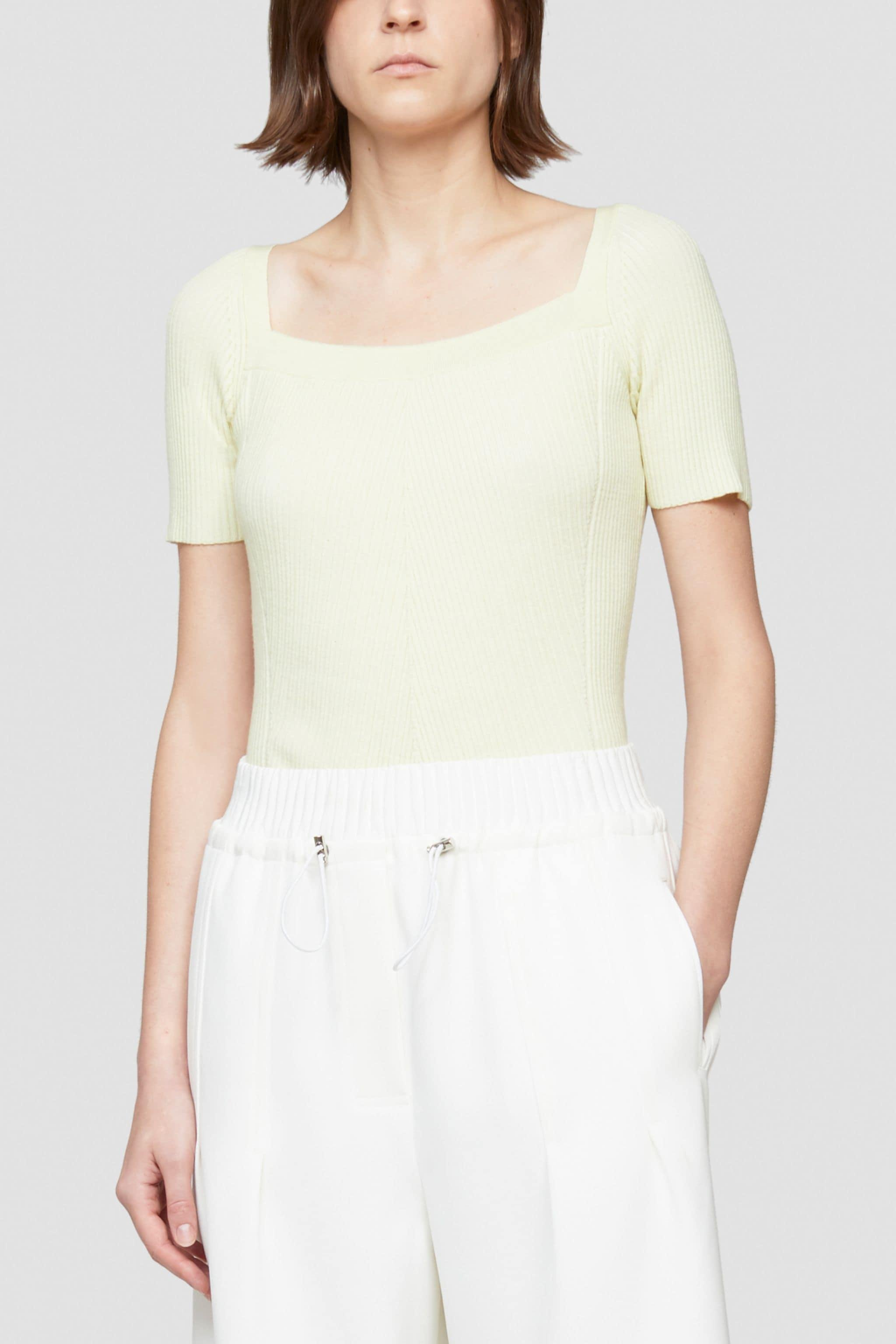 Open Neck Short Sleeve Ribbed Sweater