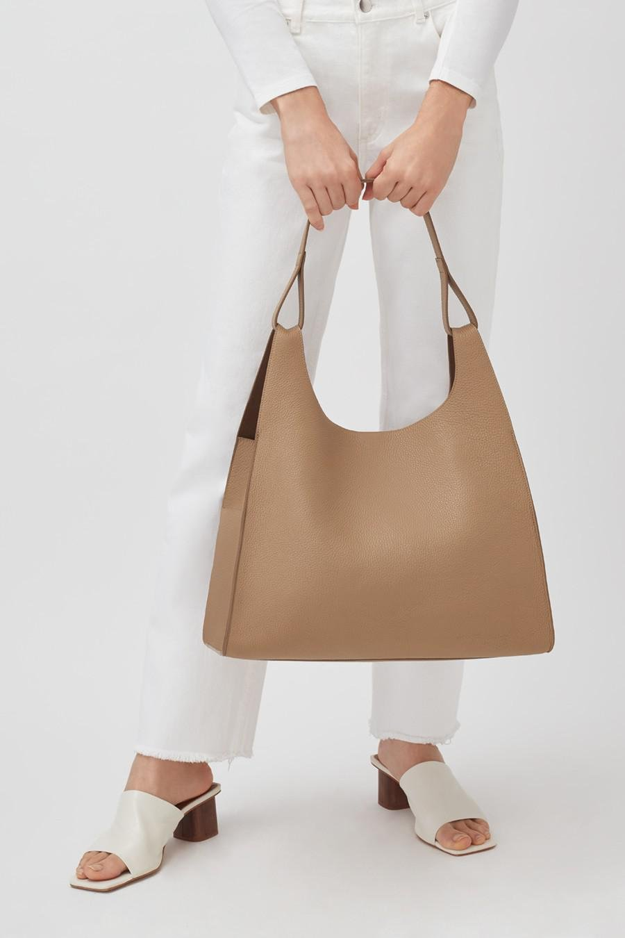 Women's Oversized Double Loop Bag in Cappuccino | Pebbled Leather by Cuyana 6