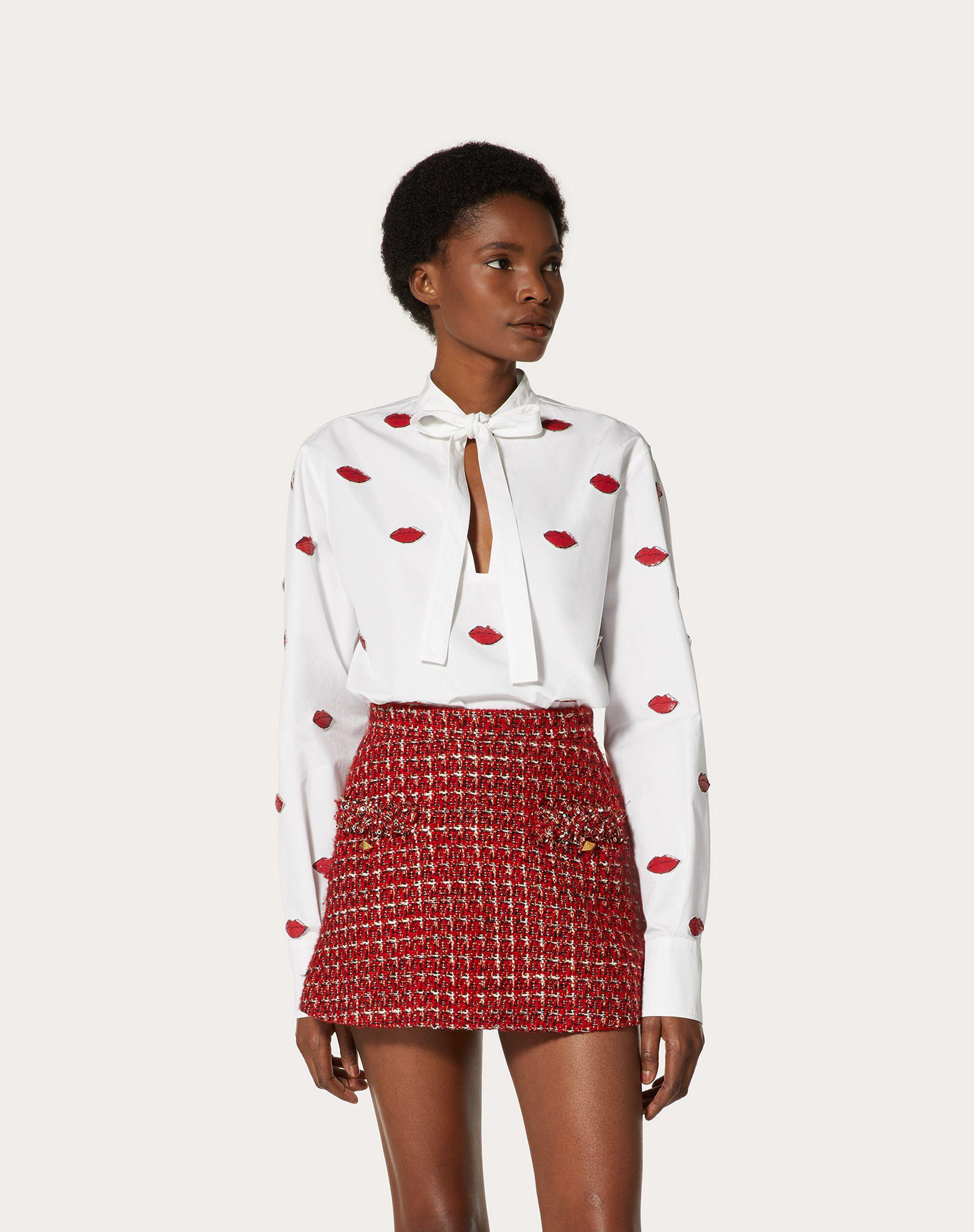 EMBROIDERED COMPACT POPLIN TOP 1