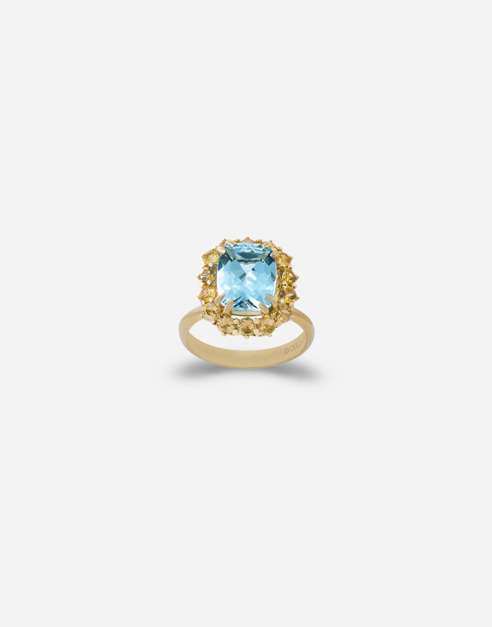 Heritage ring in yellow gold, acquamarine and yellow sapphires