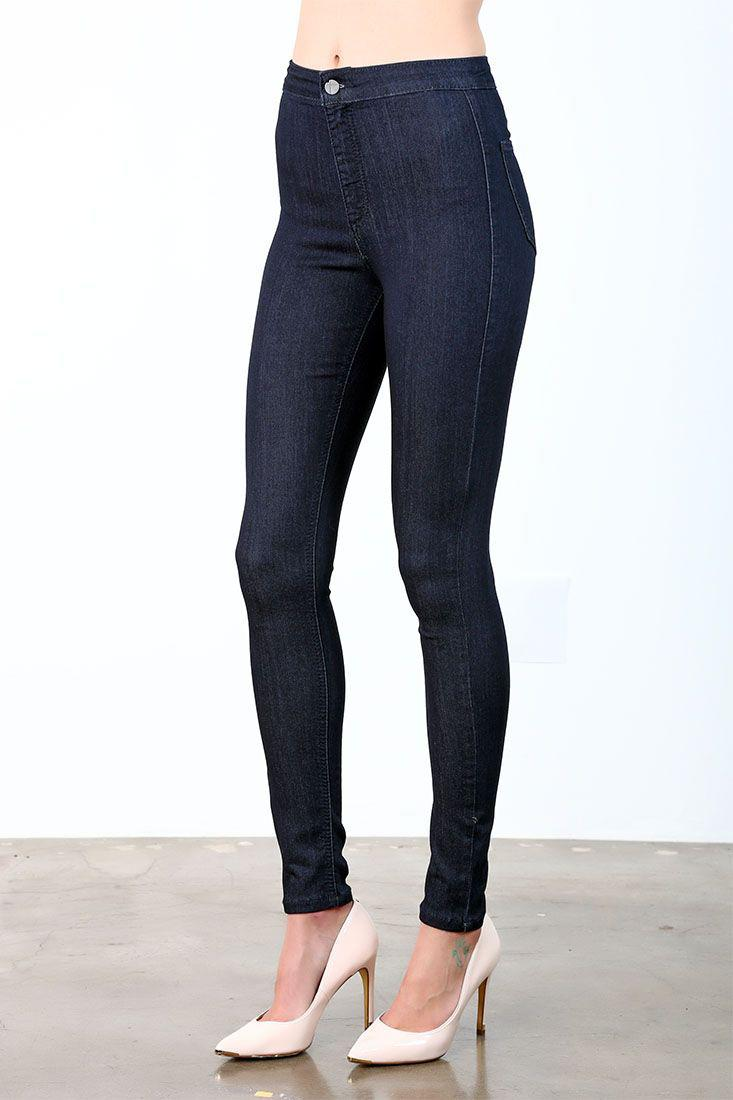 Lure High Waist Basic Rinsed Two Back Pockets Ankle Skinny Jeans