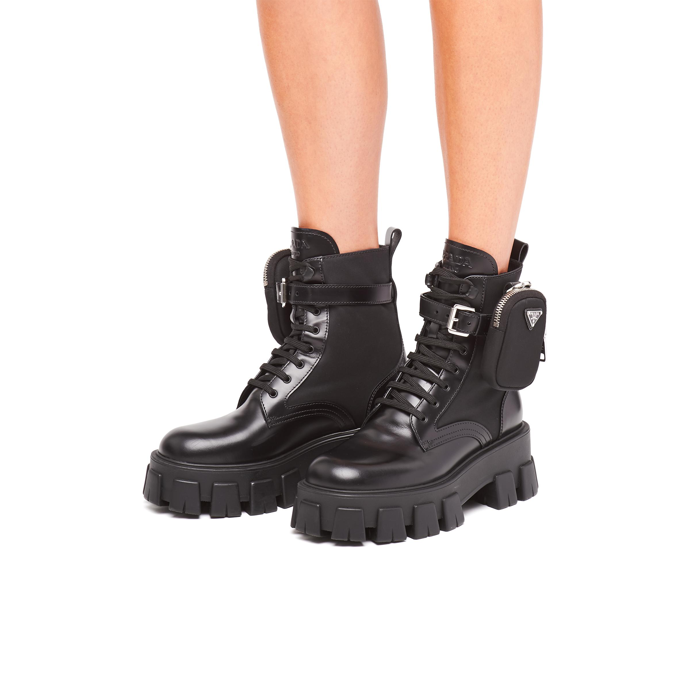 Brushed Rois Leather And Nylon Monolith Boots Women Black 4