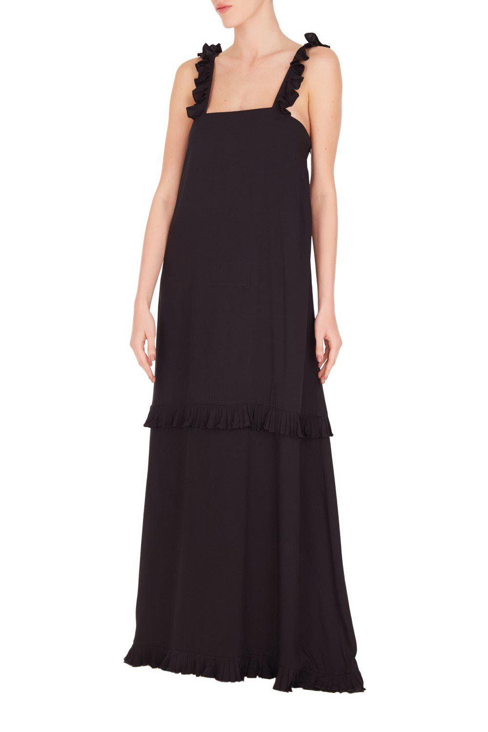 Fruits Exotiques Solid Maxi Long Dress with Frills